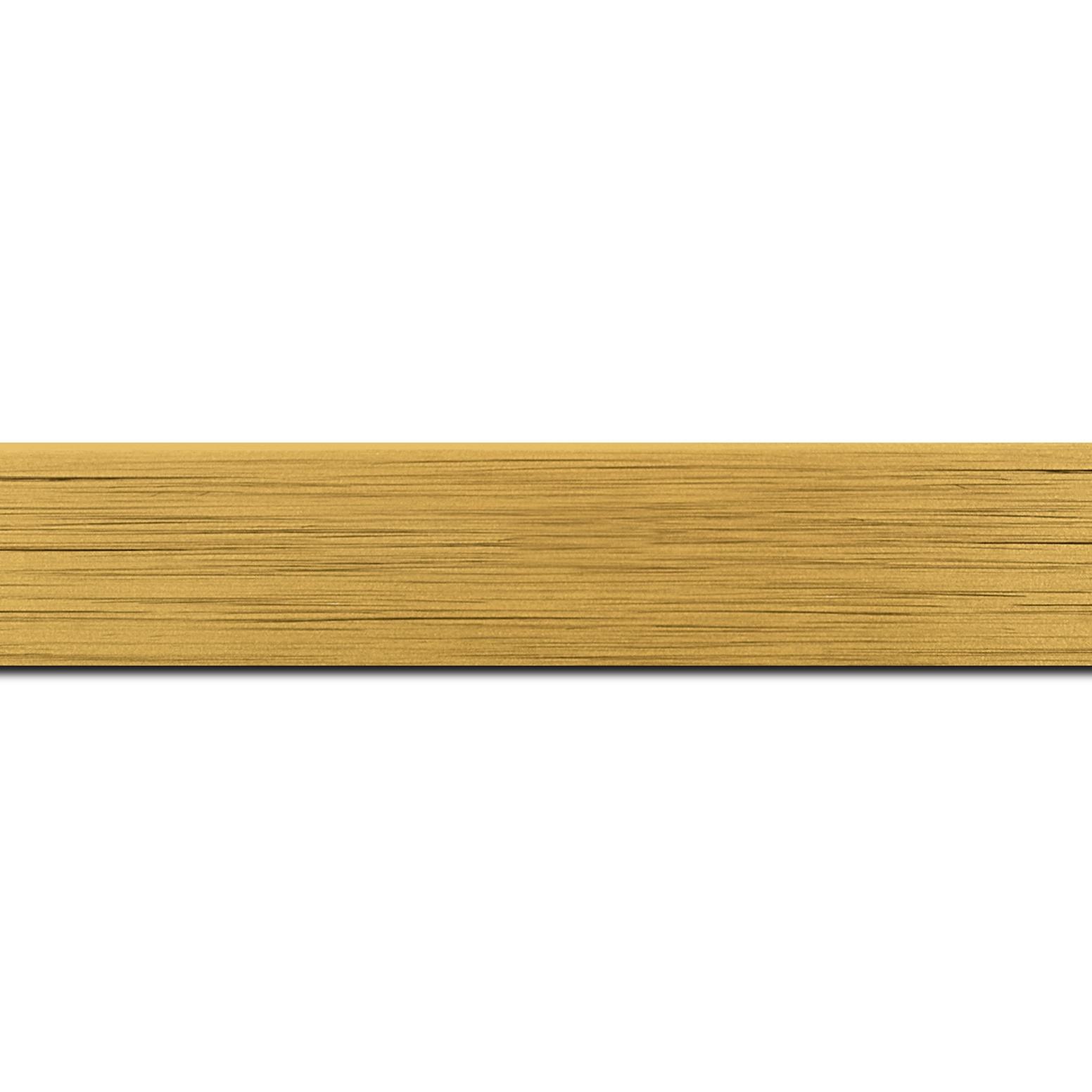 Pack par 12m, bois profil plat largeur 3cm couleur or effet cube (le sujet qui sera glissé dans le cadre sera en retrait de la face du cadre de 1.4cm assurant un effet très contemporain) (longueur baguette pouvant varier entre 2.40m et 3m selon arrivage des bois)