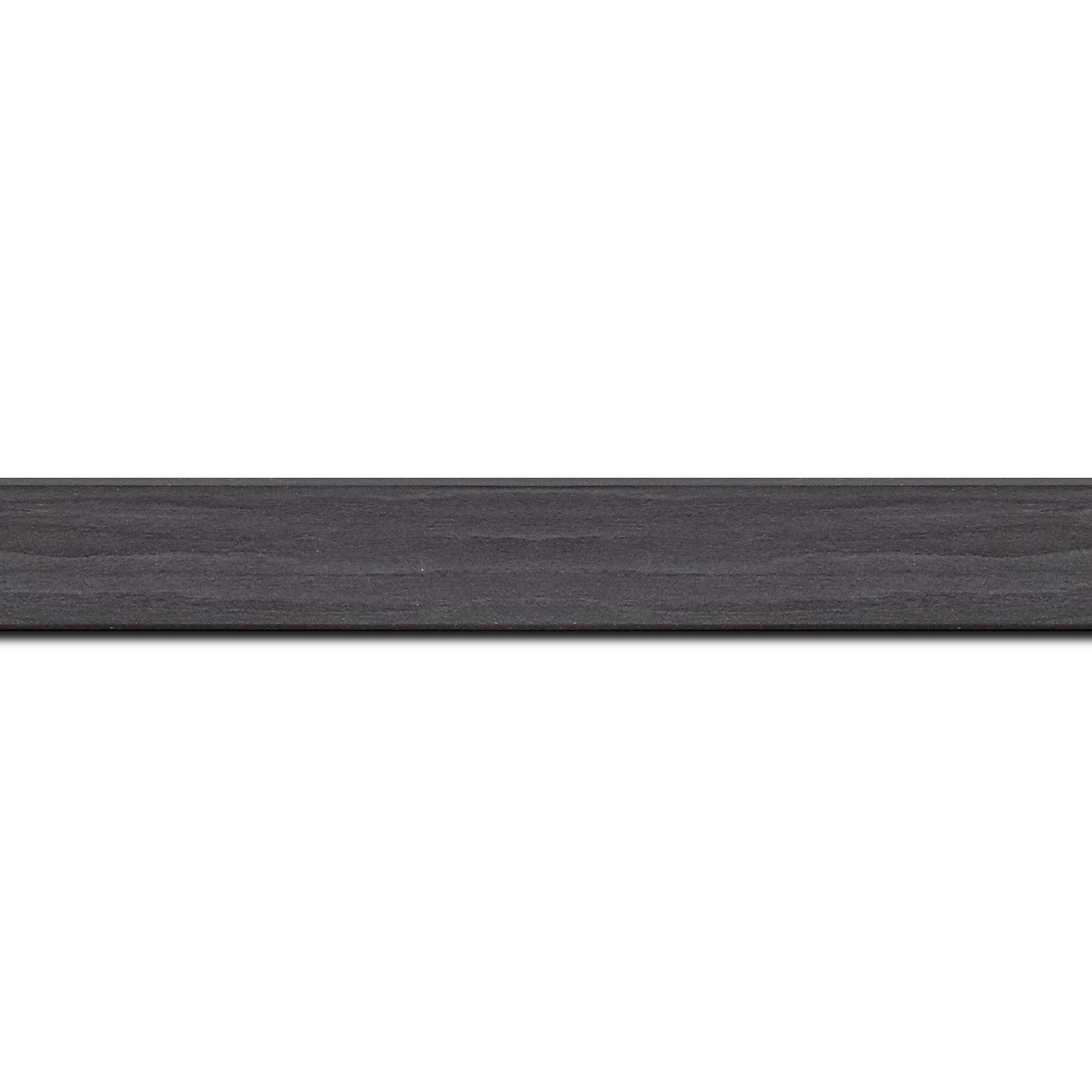 Pack par 12m, bois profil plat largeur 2.6cm hauteur 5cm décor bois noir ébène(longueur baguette pouvant varier entre 2.40m et 3m selon arrivage des bois)