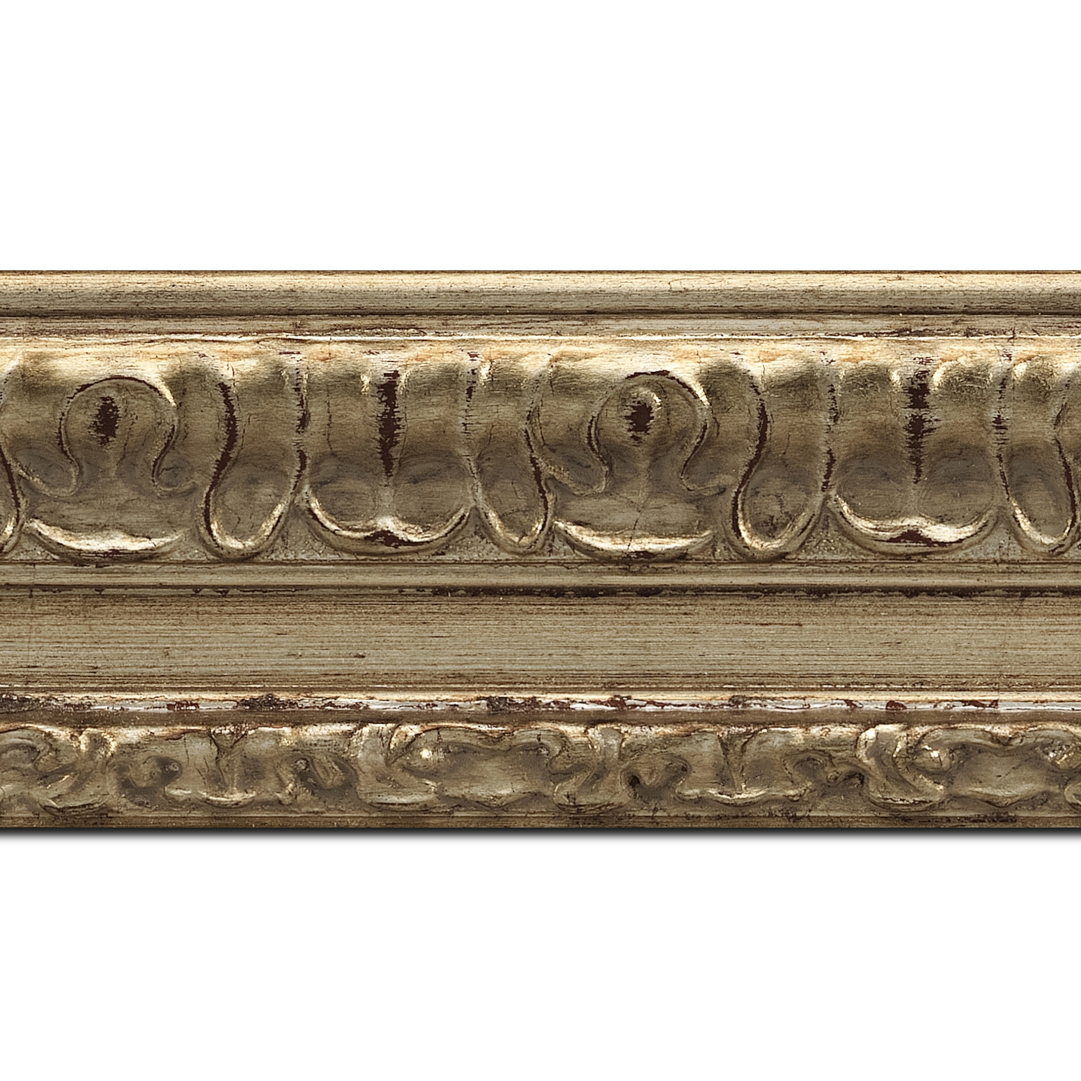 Pack par 12m, bois profil incurvé largeur 8cm argent chaud antique classique (longueur baguette pouvant varier entre 2.40m et 3m selon arrivage des bois)