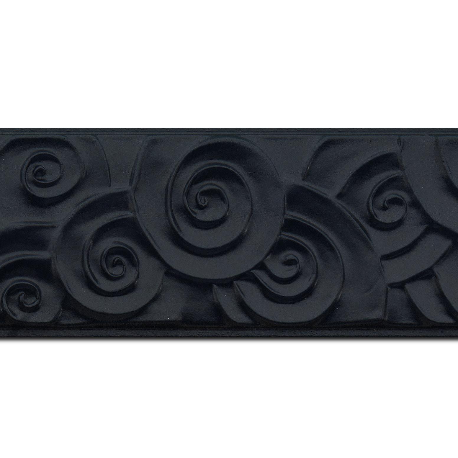 Baguette longueur 1.40m bois profil plat largeur 7cm couleur noir mat effet tourbillon