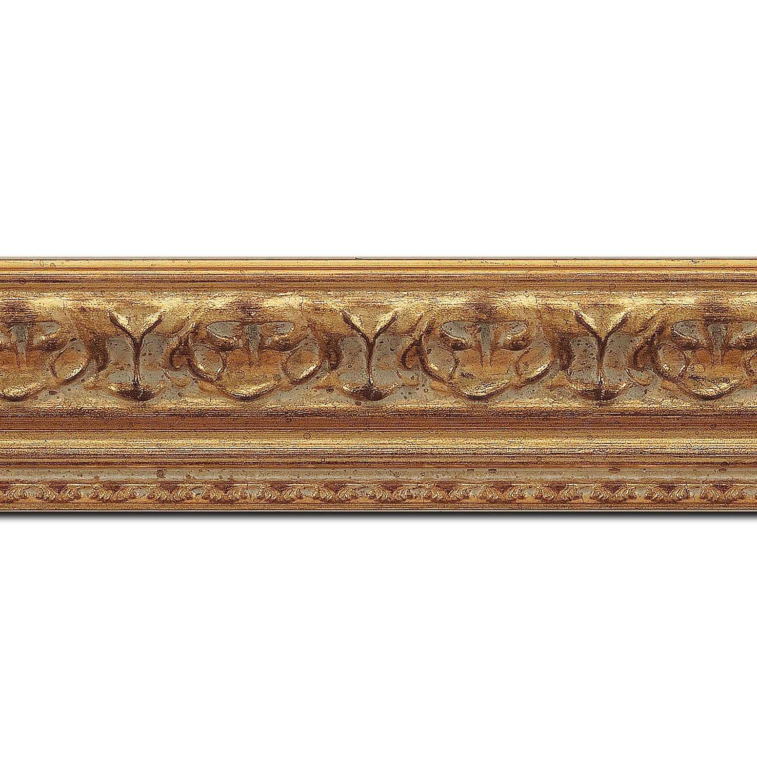 Pack par 12m, bois profil incurvé largeur 5.1cm or antique à la feuille style (longueur baguette pouvant varier entre 2.40m et 3m selon arrivage des bois)