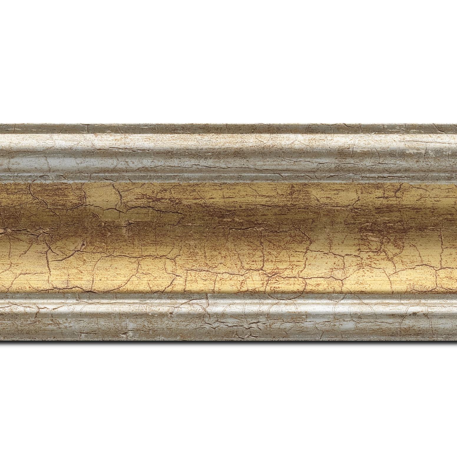 Baguette longueur 1.40m bois profil incurvé largeur 7cm gorge or craquelé bord argent chaud craquelé