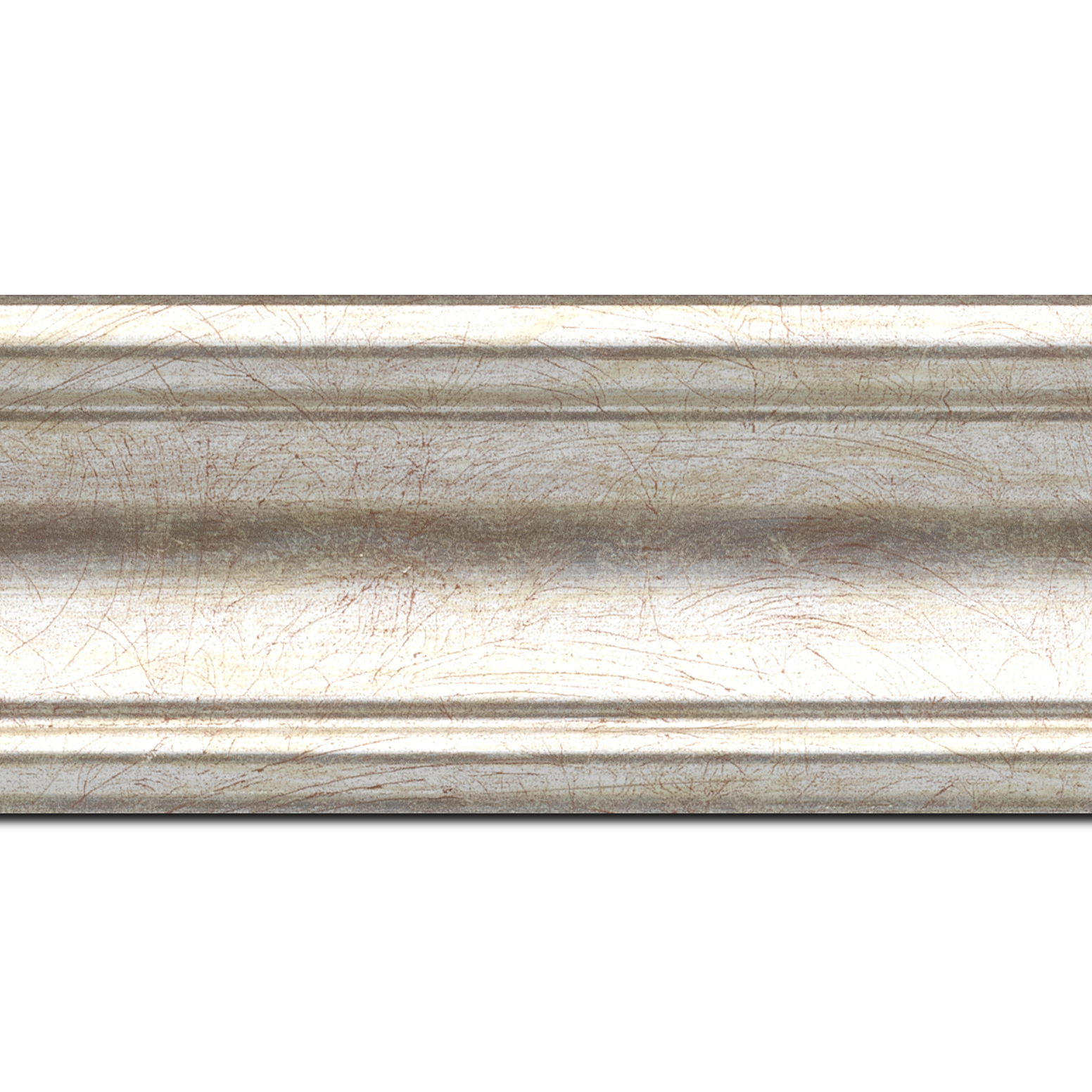 Pack par 12m, bois profil incurvé largeur 7cm argent chaud(longueur baguette pouvant varier entre 2.40m et 3m selon arrivage des bois)