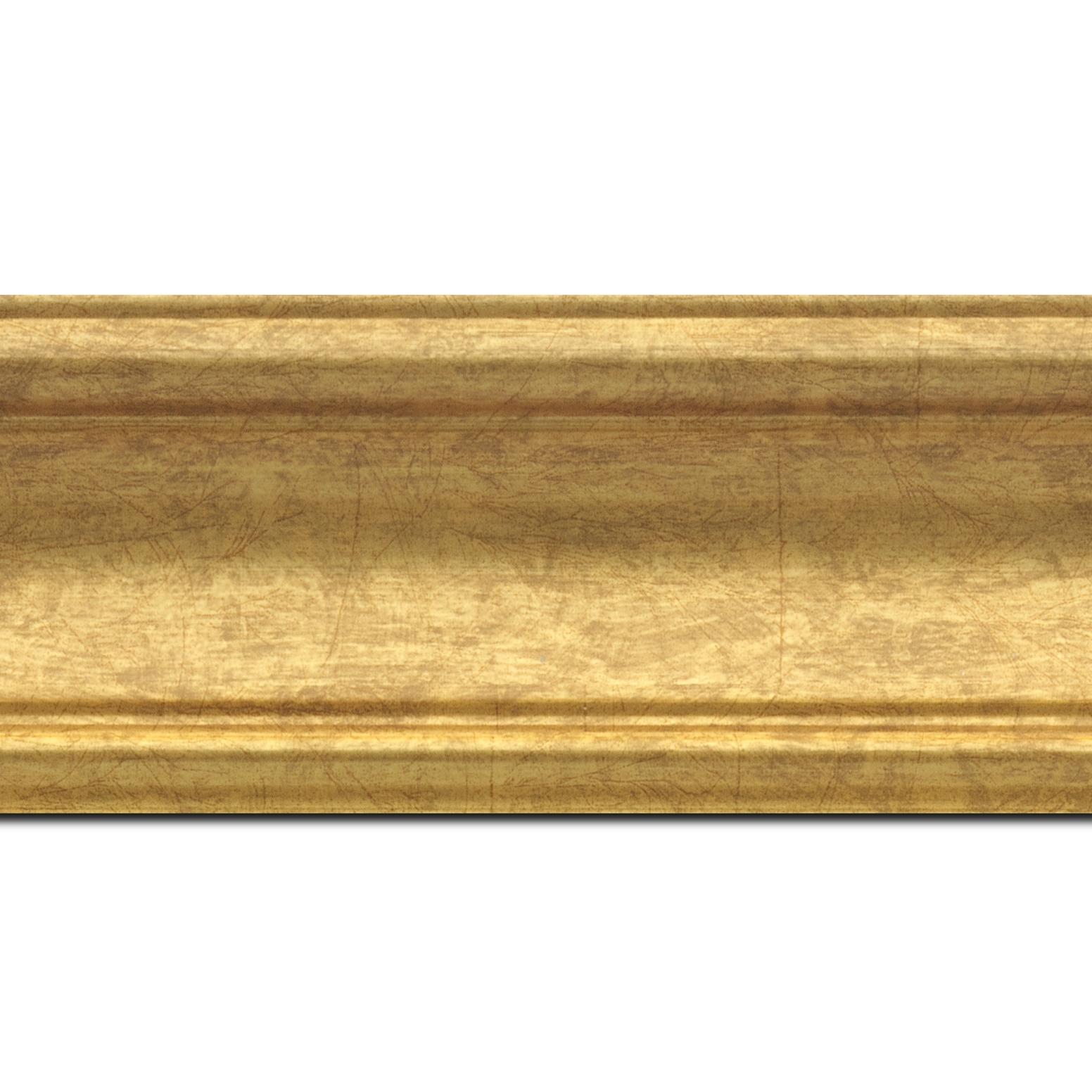 Pack par 12m, bois profil incurvé largeur 7cm or(longueur baguette pouvant varier entre 2.40m et 3m selon arrivage des bois)