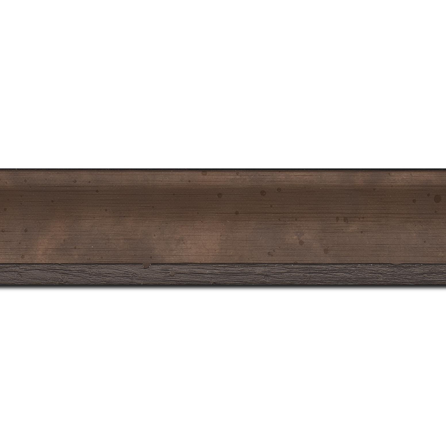 Baguette longueur 1.40m bois profil incurvé largeur 3.9cm bronze tamisé