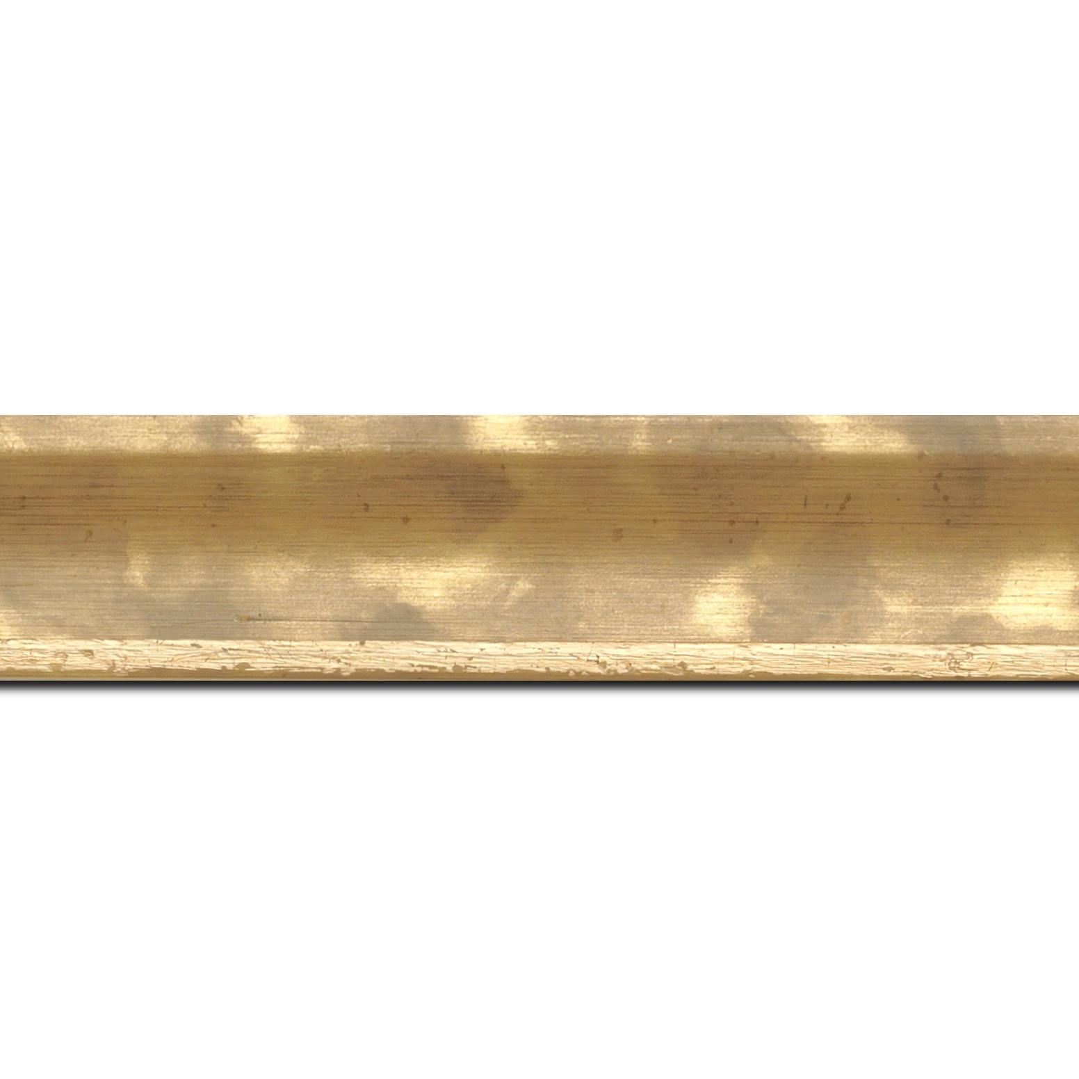 Baguette longueur 1.40m bois profil incurvé largeur 3.9cm or tamisé
