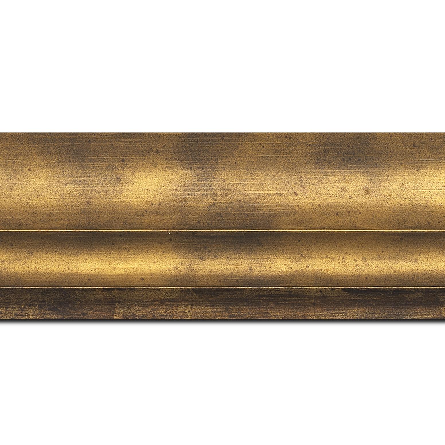Baguette longueur 1.40m bois profil plat ondulé largeur 5.9cm bronze