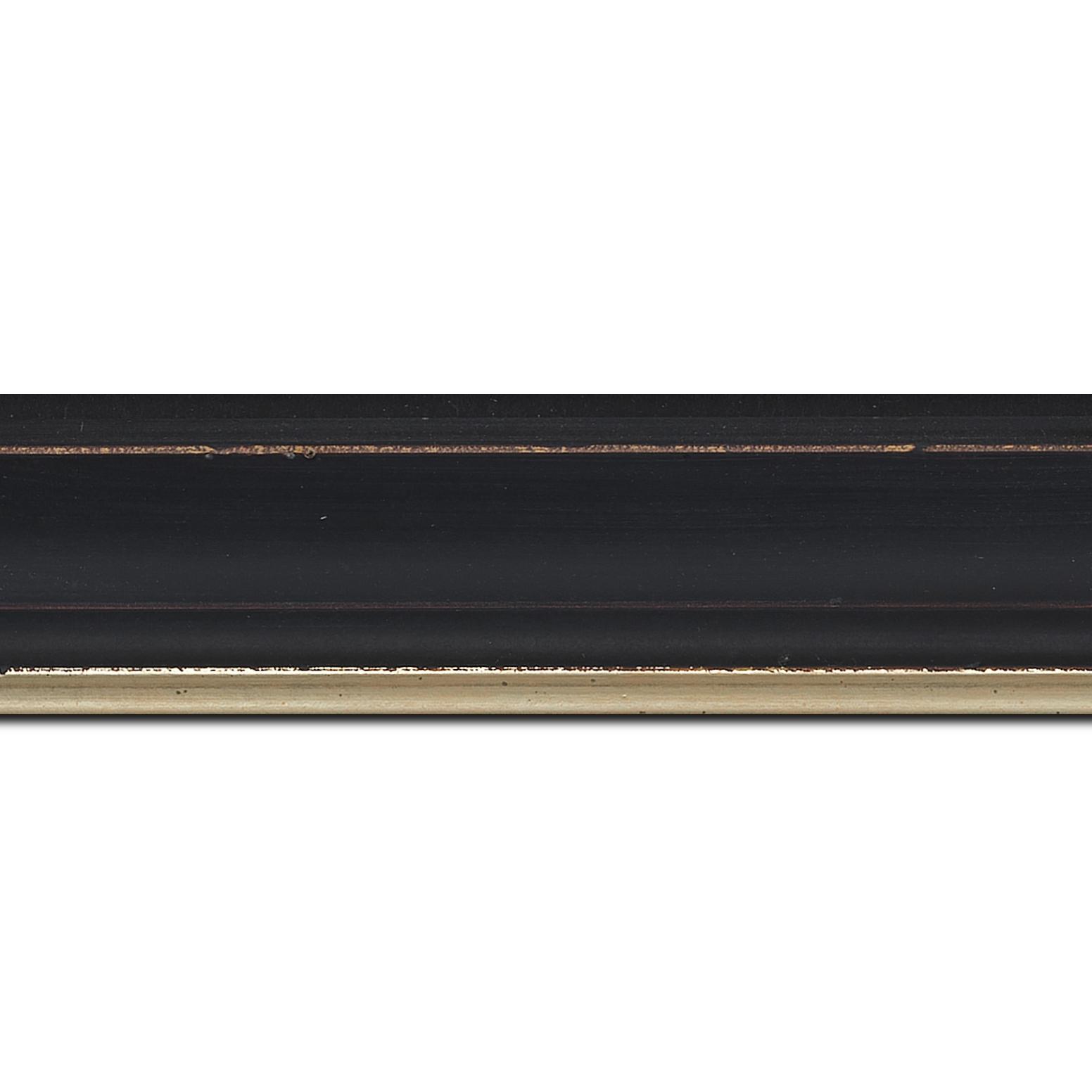 Baguette longueur 1.40m bois profil incurvé largeur 4.2cm couleur noir filet or fondu finition nature