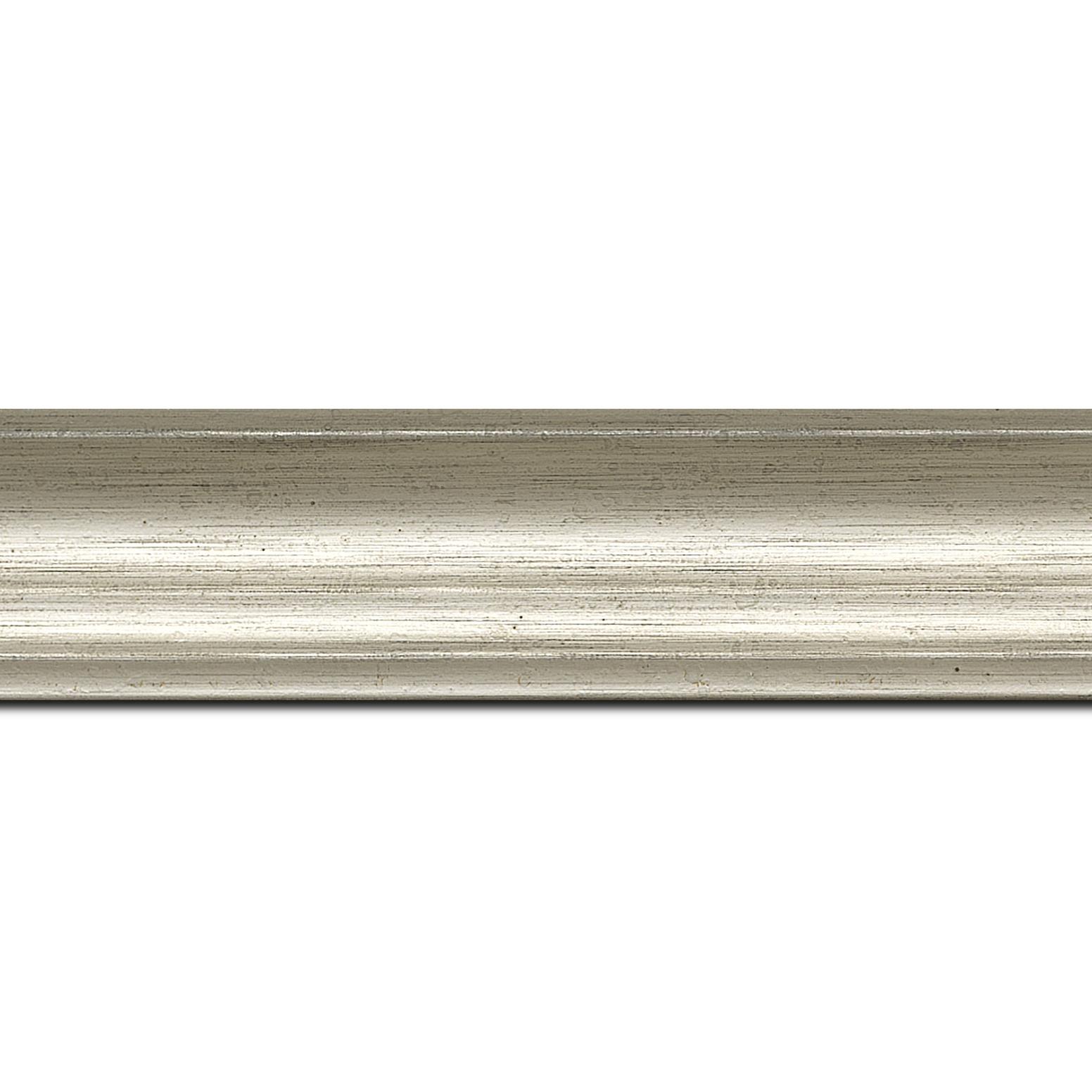 Baguette longueur 1.40m bois profil incurvé largeur 4.2cm argent chaud  finition nature