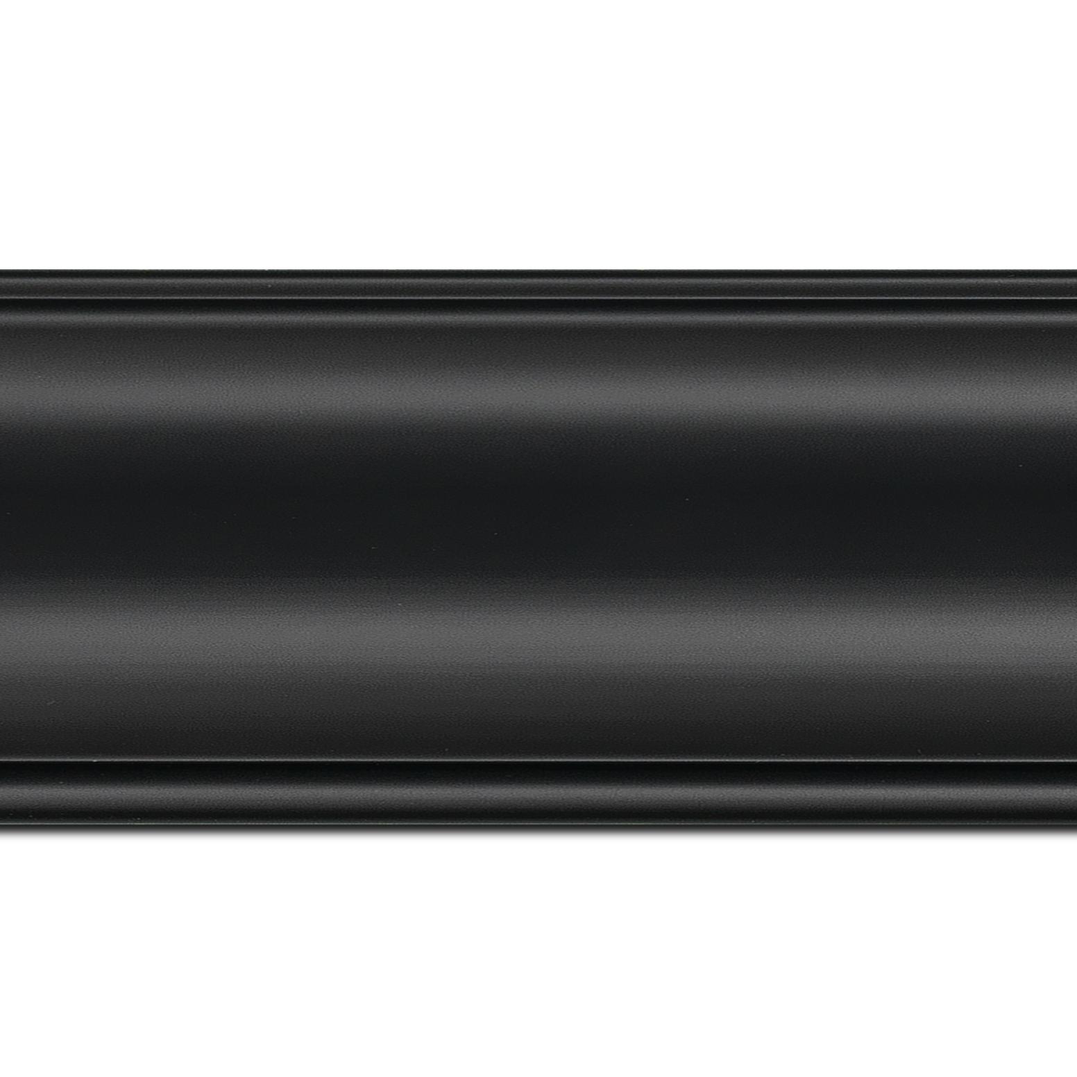 Pack par 12m, bois profil inversé largeur 9.1cm couleur noir satiné (longueur baguette pouvant varier entre 2.40m et 3m selon arrivage des bois)