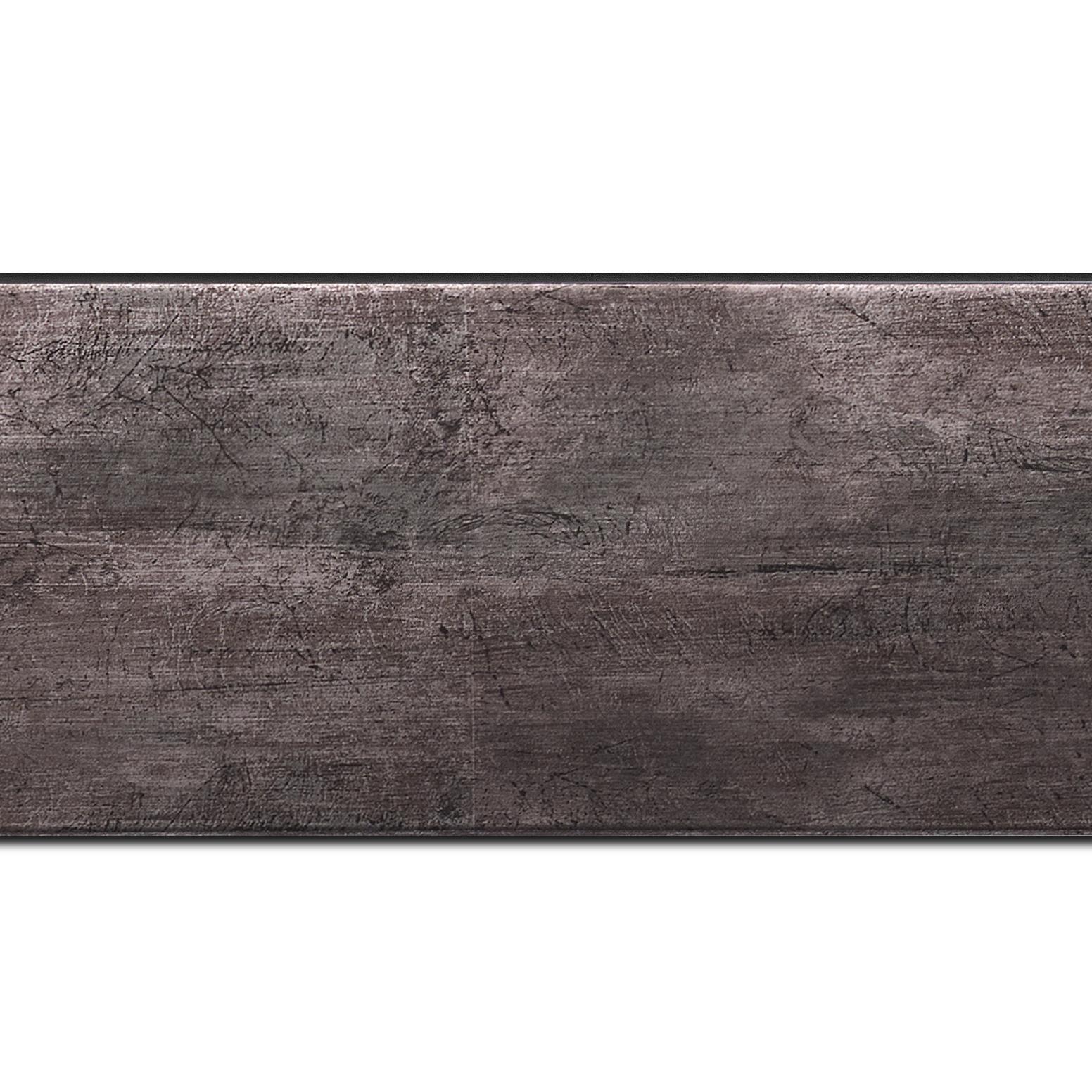 Pack par 12m, bois profil plat largeur 8.1cm argent étain contemporain (longueur baguette pouvant varier entre 2.40m et 3m selon arrivage des bois)