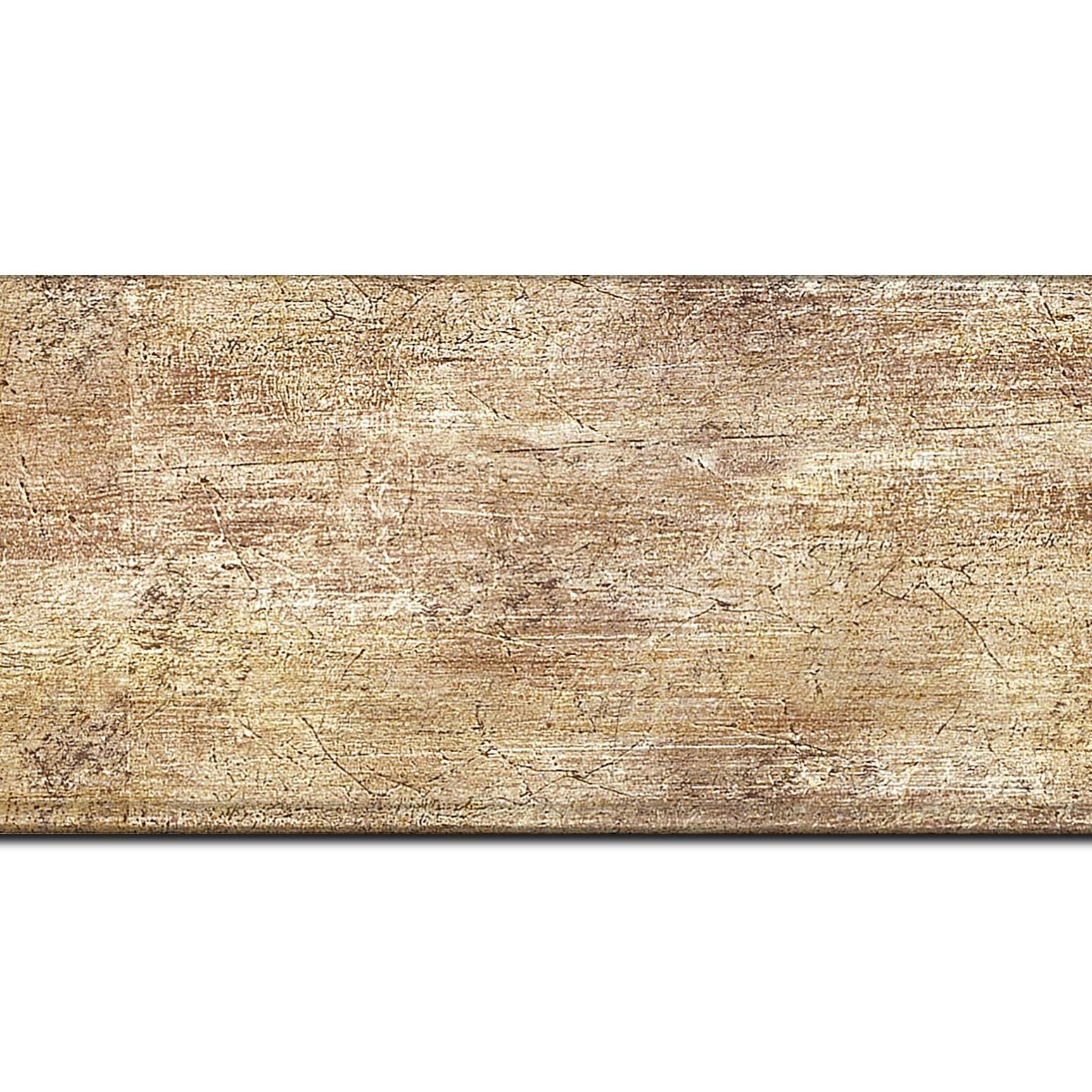 Pack par 12m, bois profil plat largeur 8.1cm or contemporain (longueur baguette pouvant varier entre 2.40m et 3m selon arrivage des bois)