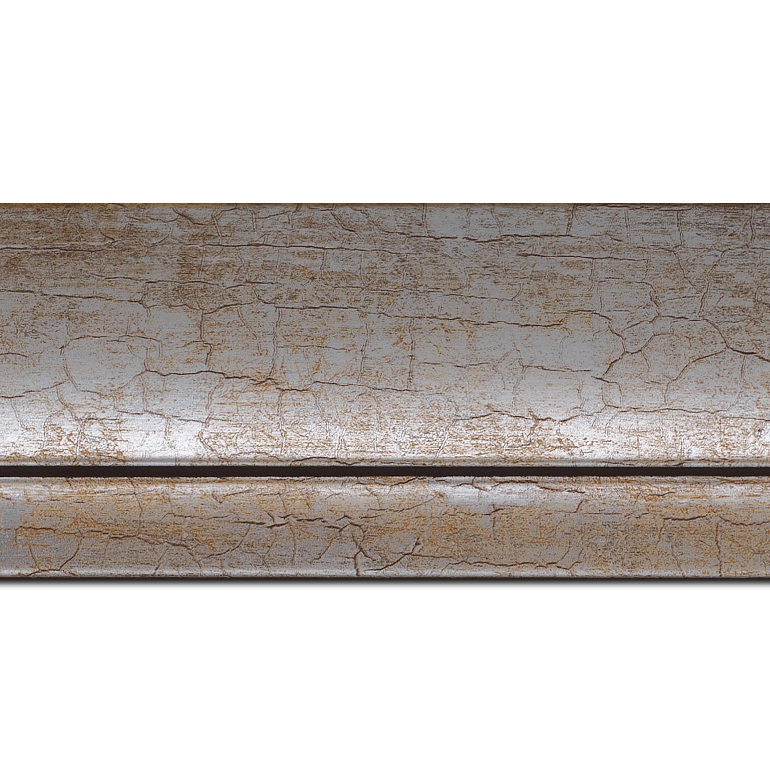 Baguette longueur 1.40m bois profil arrondi largeur 7.6cm argent chaud craquelé