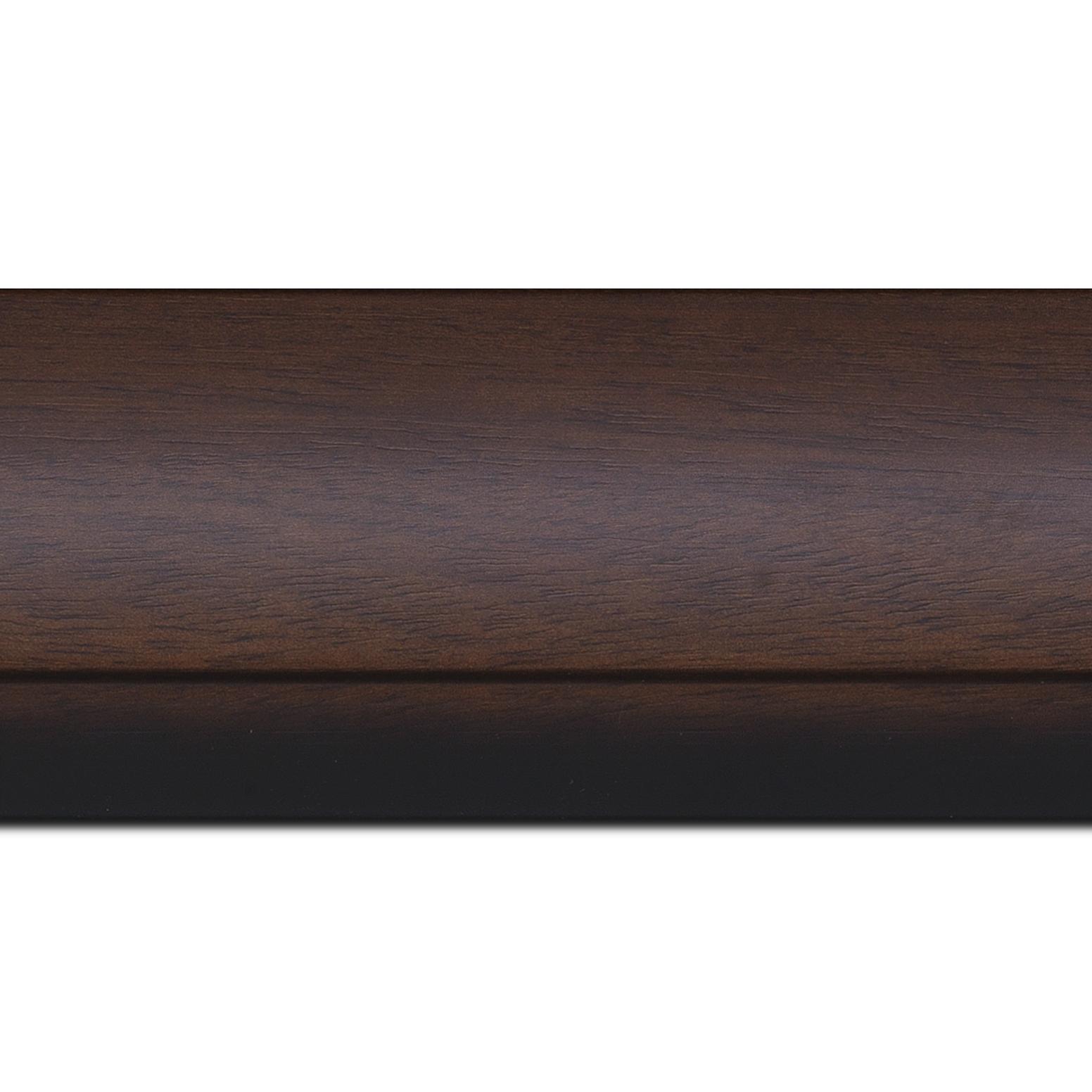 Baguette longueur 1.40m bois profil arrondi largeur 7.6cm couleur chocolat nez noirci