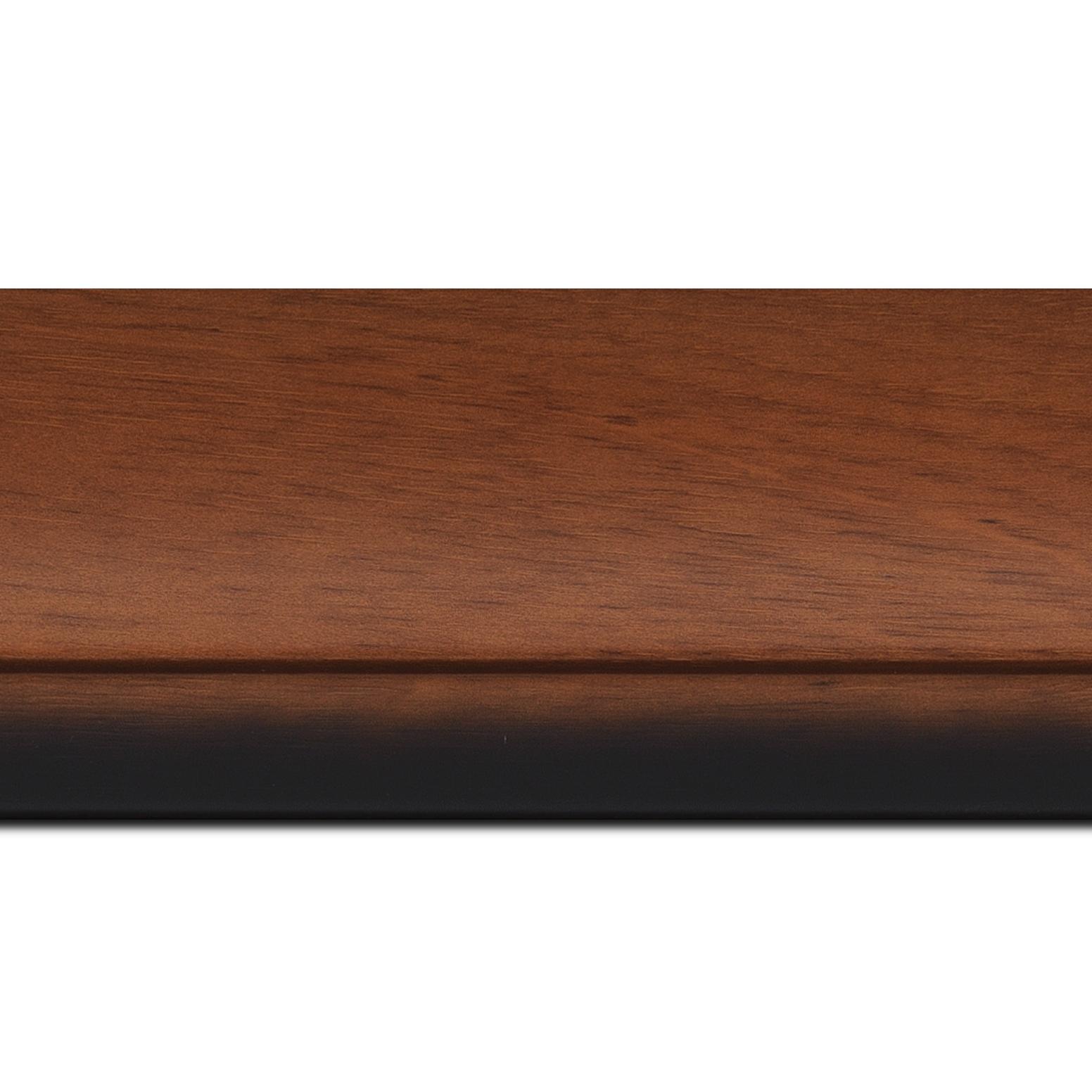 Pack par 12m, bois profil arrondi largeur 7.6cm couleur merisier nez noirci(longueur baguette pouvant varier entre 2.40m et 3m selon arrivage des bois)