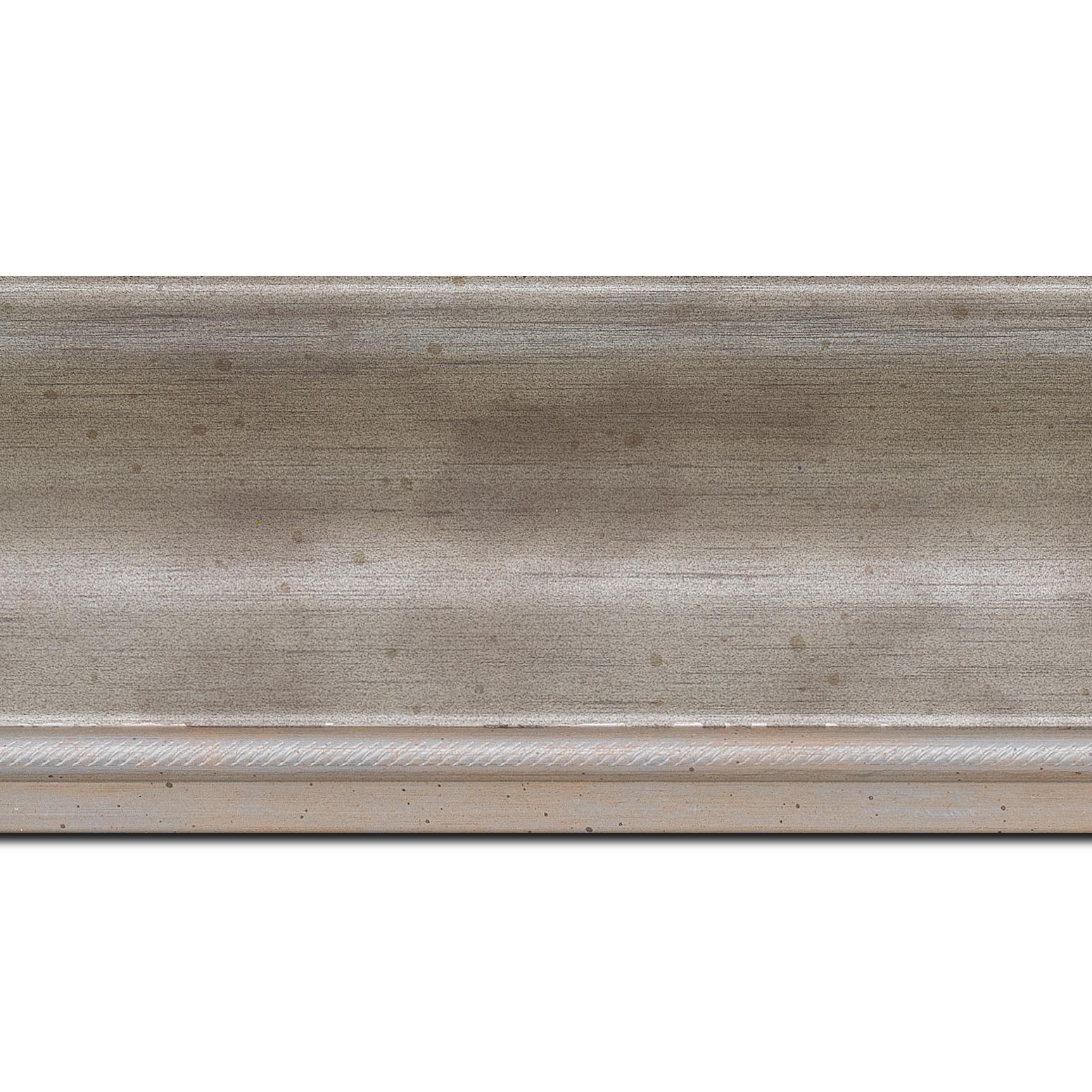 Baguette longueur 1.40m bois profil incurvé largeur 7.5cm de couleur argent finition antique filet argent vermeille