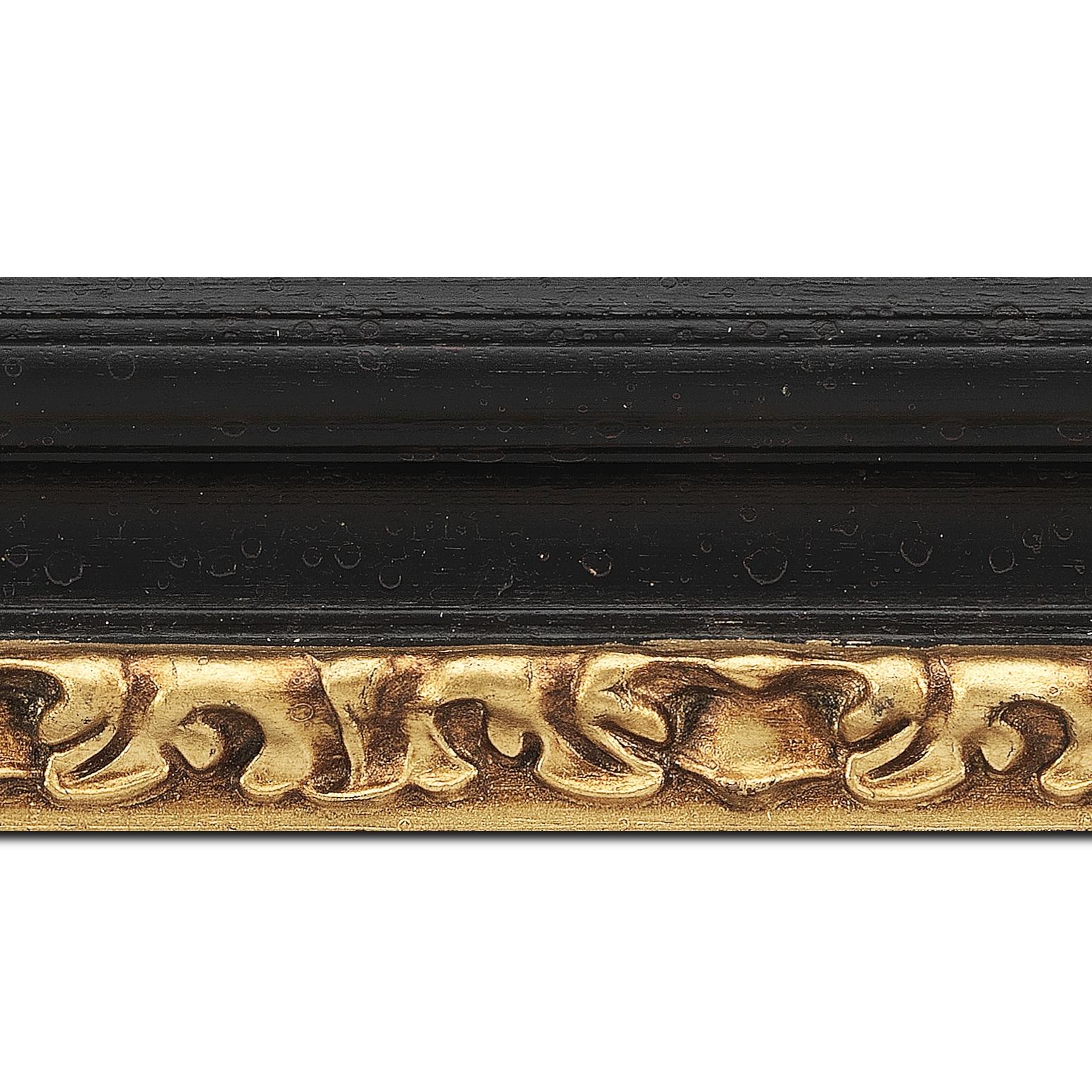 Pack par 12m, bois profil incurvé largeur 7.9cm noir antique nez or à la feuille style (longueur baguette pouvant varier entre 2.40m et 3m selon arrivage des bois)