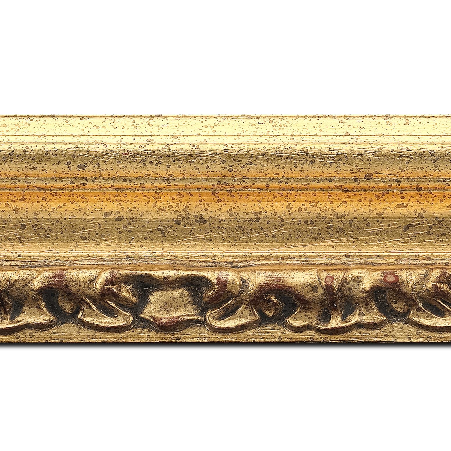 Pack par 12m, bois profil incurvé largeur 7.9cm or antique nez or à la feuille style (longueur baguette pouvant varier entre 2.40m et 3m selon arrivage des bois)