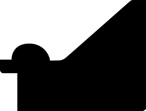 Baguette coupe droite bois profil en pente largeur 5.9cm noir antique filet boule à la feuille style