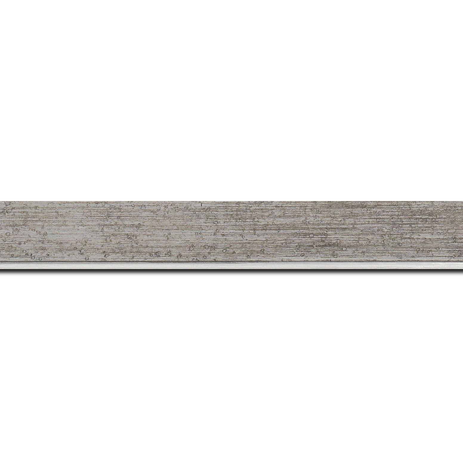 Baguette longueur 1.40m bois profil incliné en pente largeur 2.5cm couleur argent patiné filet argent