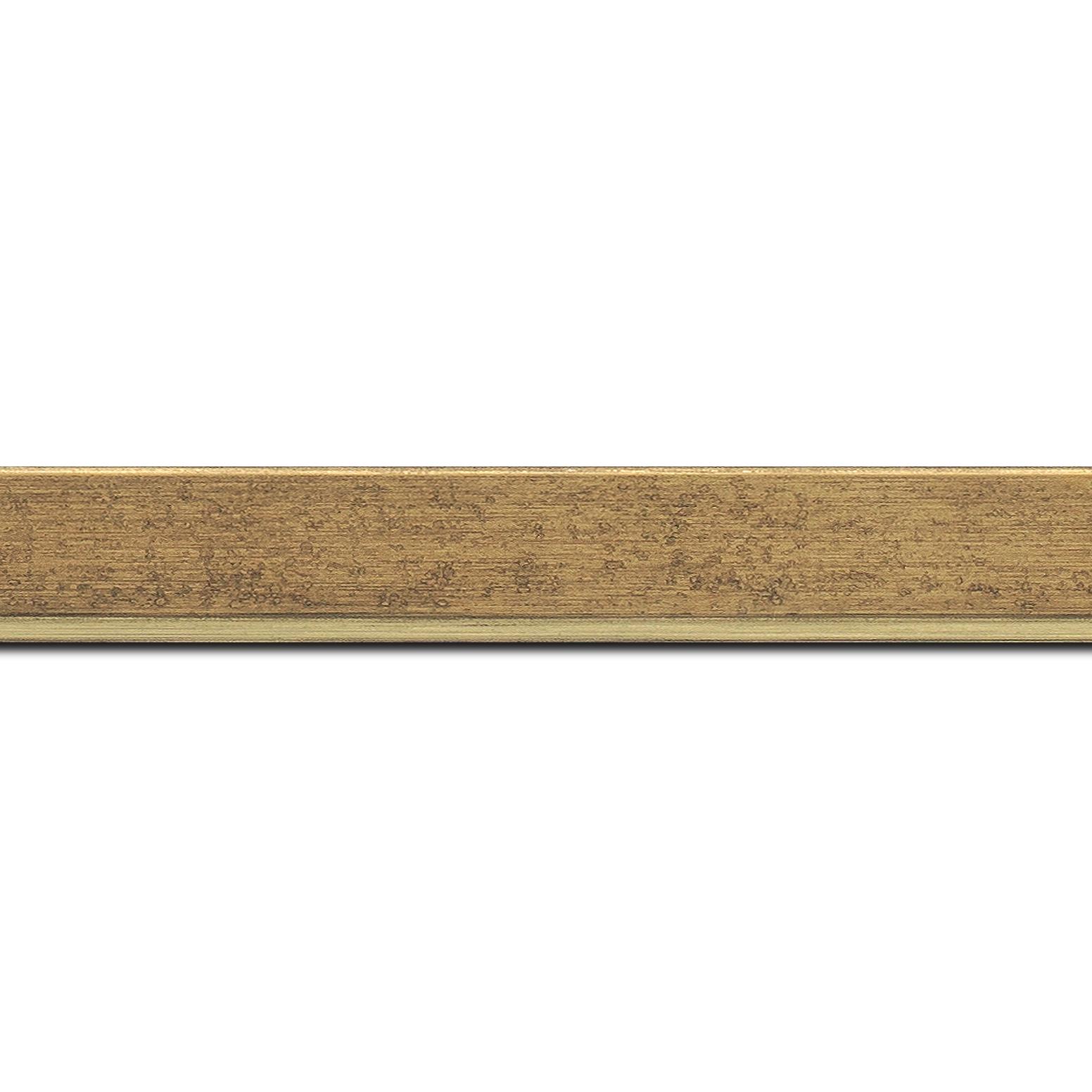 Baguette longueur 1.40m bois profil incliné en pente largeur 2.5cm couleur or patiné filet or