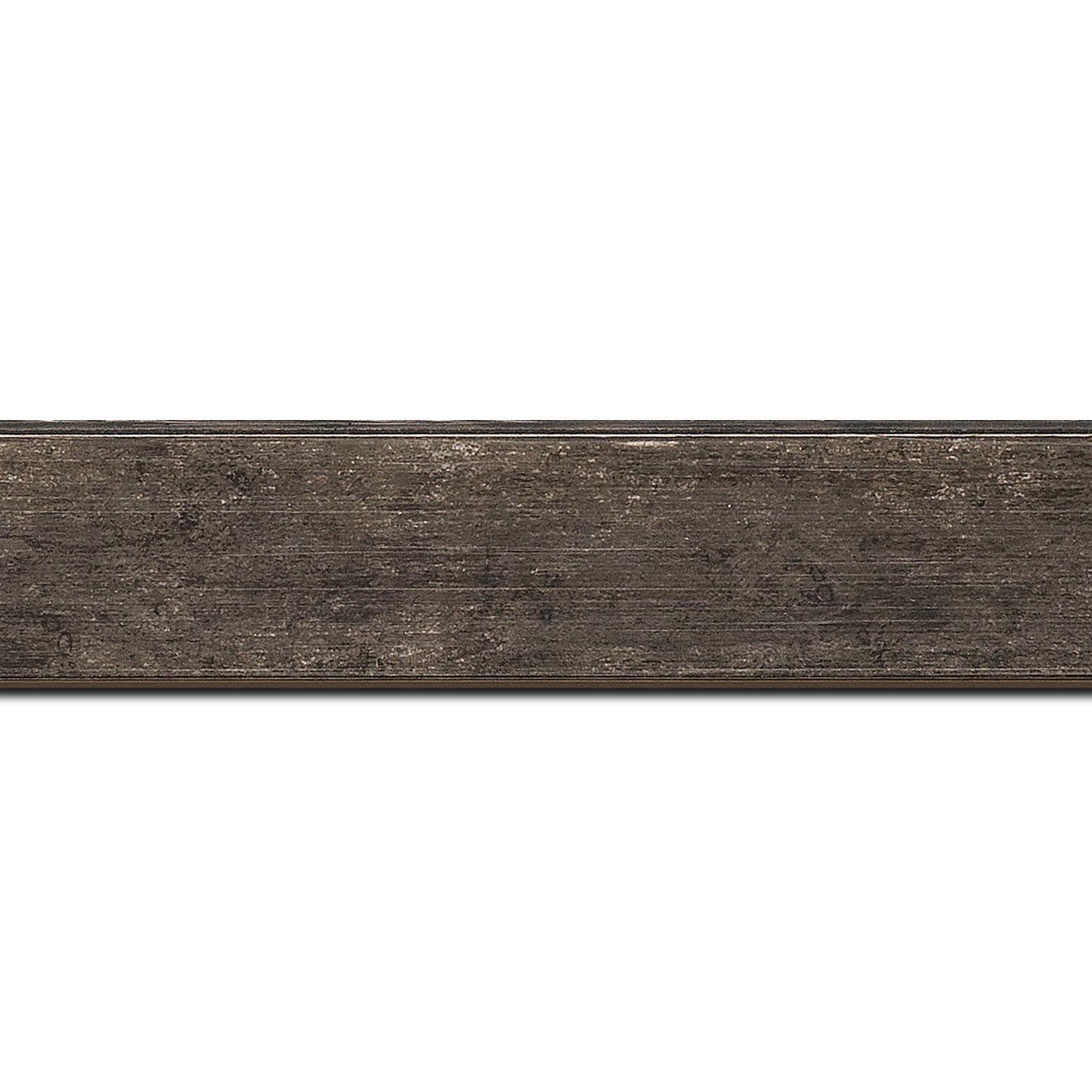 Pack par 12m, bois profil plat incliné largeur 3.7cm couleur noir ébène effet ressuyé (longueur baguette pouvant varier entre 2.40m et 3m selon arrivage des bois)