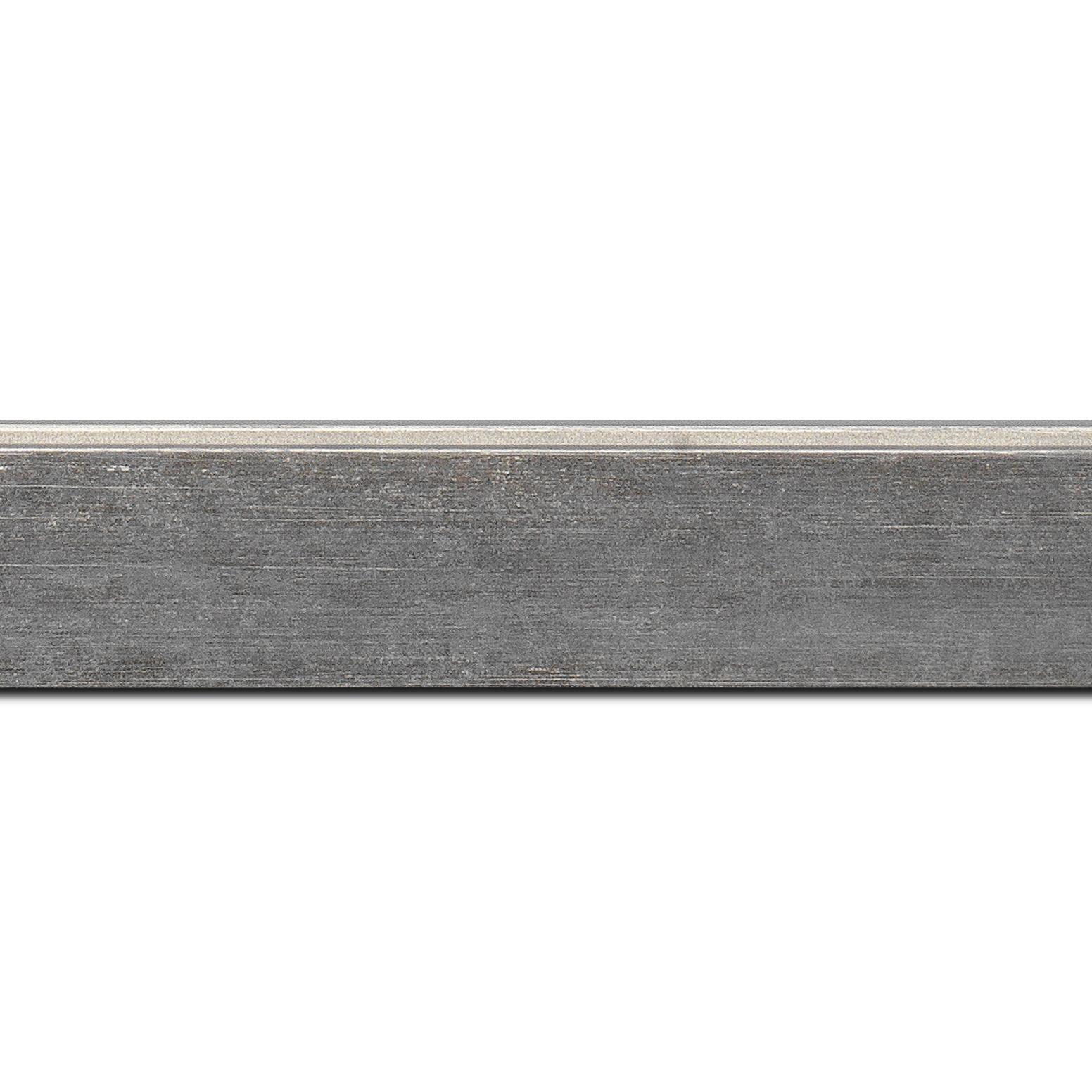 Baguette longueur 1.40m bois profil plat incliné largeur 3.7cm couleur gris clair effet ressuyé