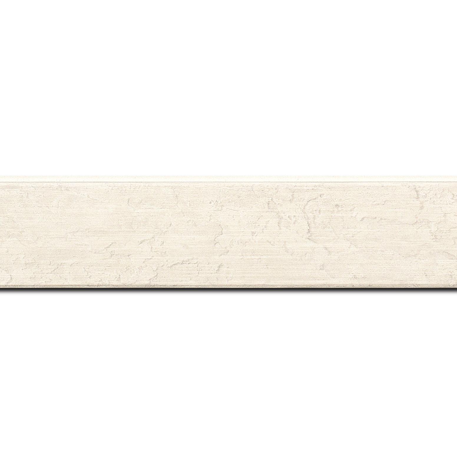 Baguette longueur 1.40m bois profil plat incliné largeur 3.7cm couleur blanc effet ressuyé