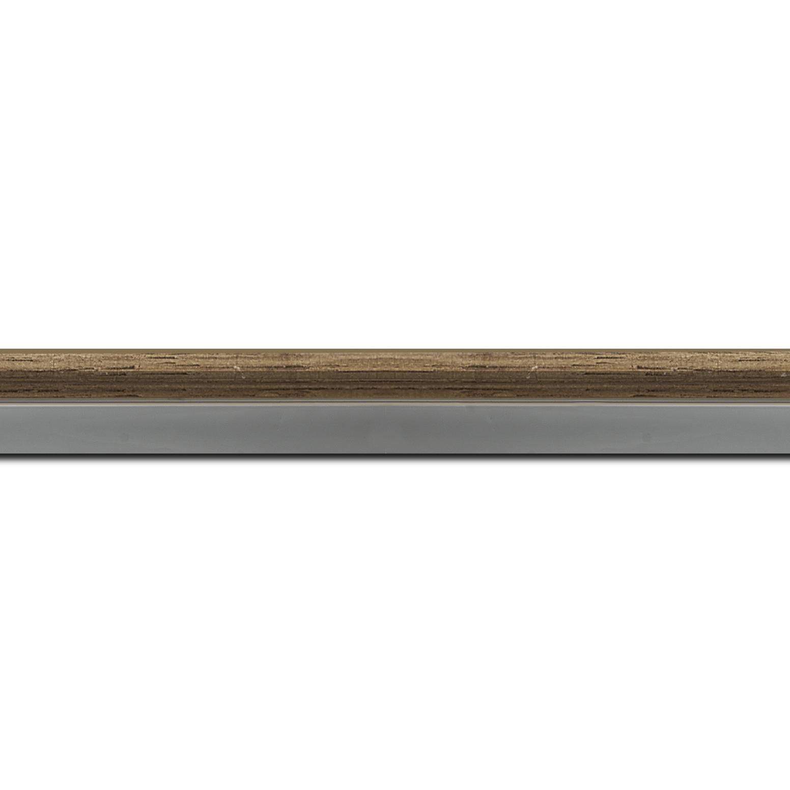 Pack par 12m, bois profil plat largeur 2.4cm  argent chromé décor chêne foncé extérieur (longueur baguette pouvant varier entre 2.40m et 3m selon arrivage des bois)