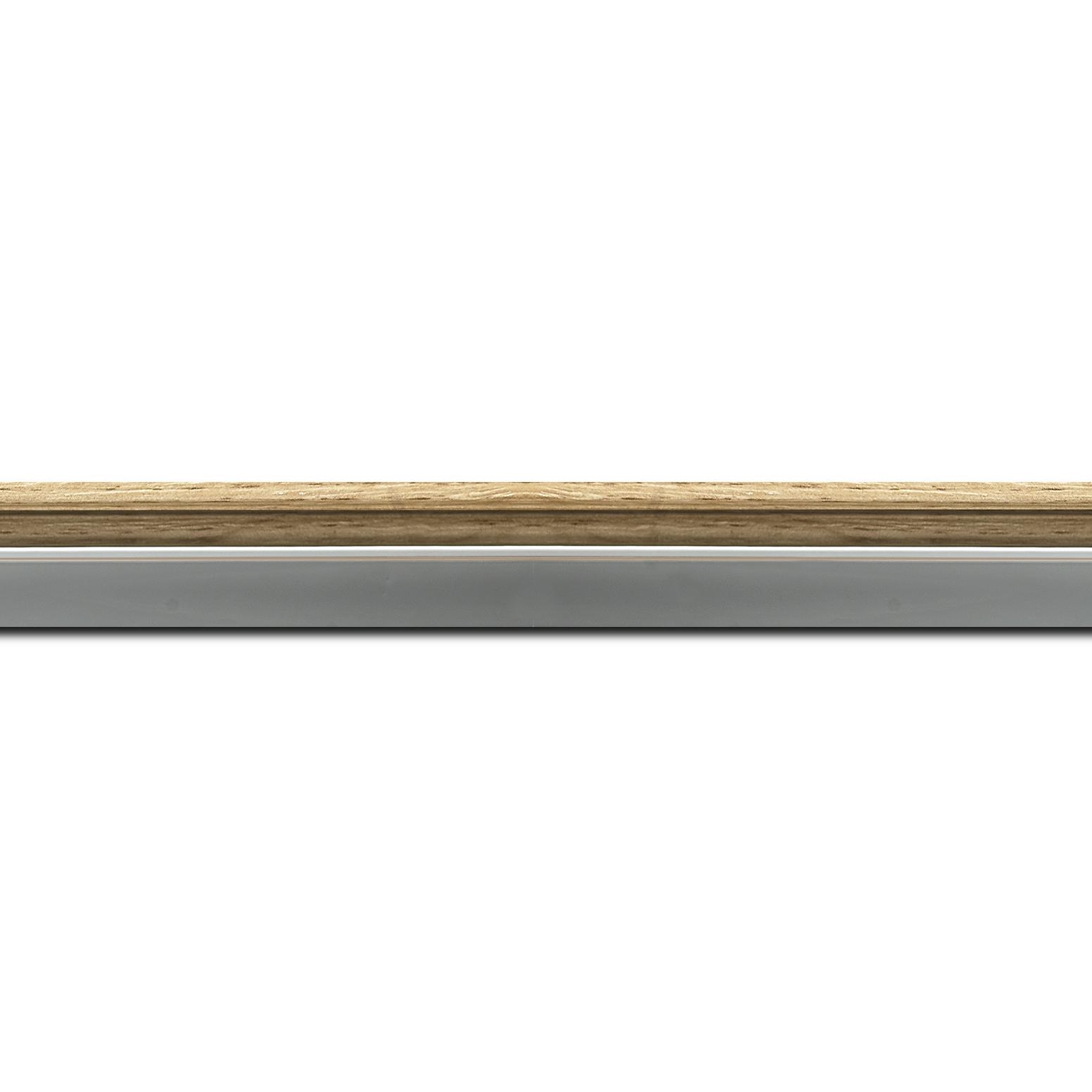 Pack par 12m, bois profil plat largeur 2.4cm  argent chromé décor chêne naturel extérieur (longueur baguette pouvant varier entre 2.40m et 3m selon arrivage des bois)