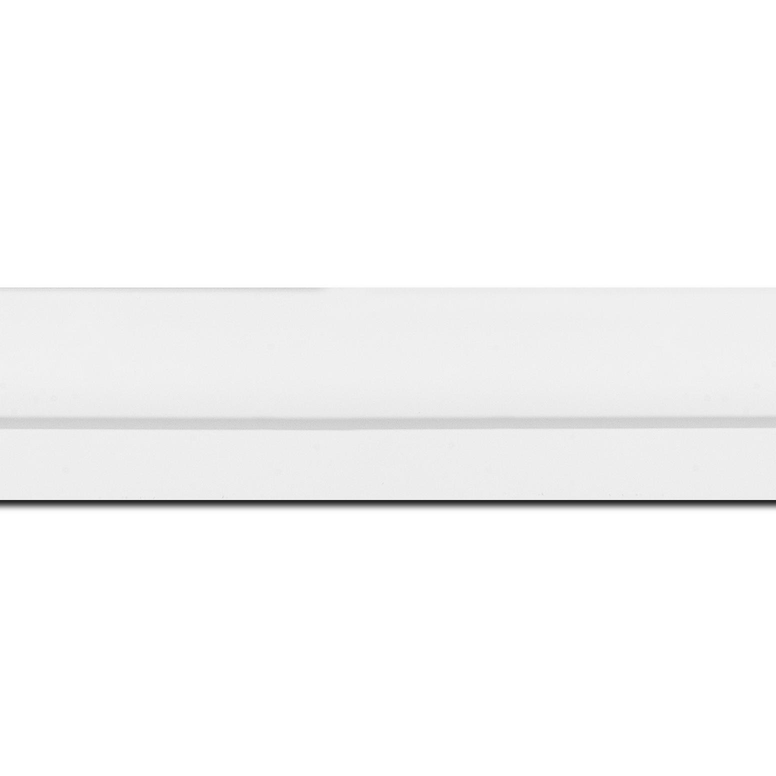 Pack par 12m, bois profil plat largeur 4.5cm couleur blanc mat nez blanc finition pore bouché (longueur baguette pouvant varier entre 2.40m et 3m selon arrivage des bois)