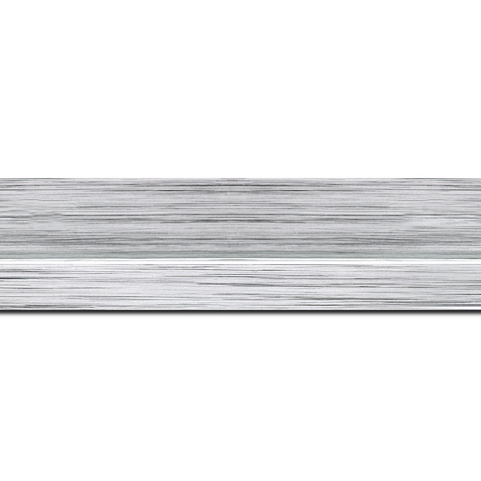 Baguette longueur 1.40m bois profil plat largeur 4.5cm couleur argent nez argent