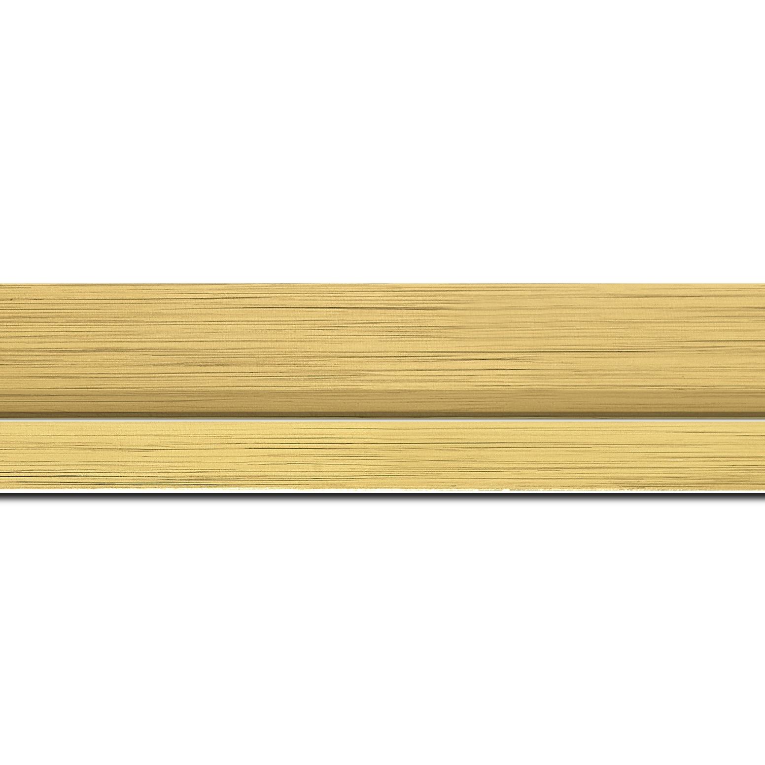 Pack par 12m, bois profil plat largeur 4.5cm couleur or nez or  (longueur baguette pouvant varier entre 2.40m et 3m selon arrivage des bois)