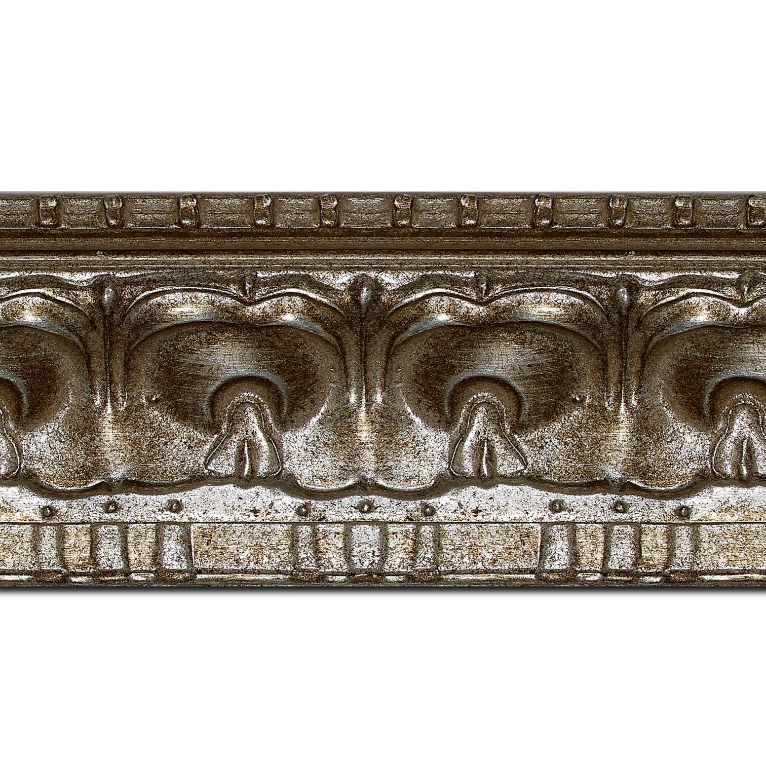 Pack par 12m, bois profil incurvé largeur 8.5cm argent chaud antique classique(longueur baguette pouvant varier entre 2.40m et 3m selon arrivage des bois)