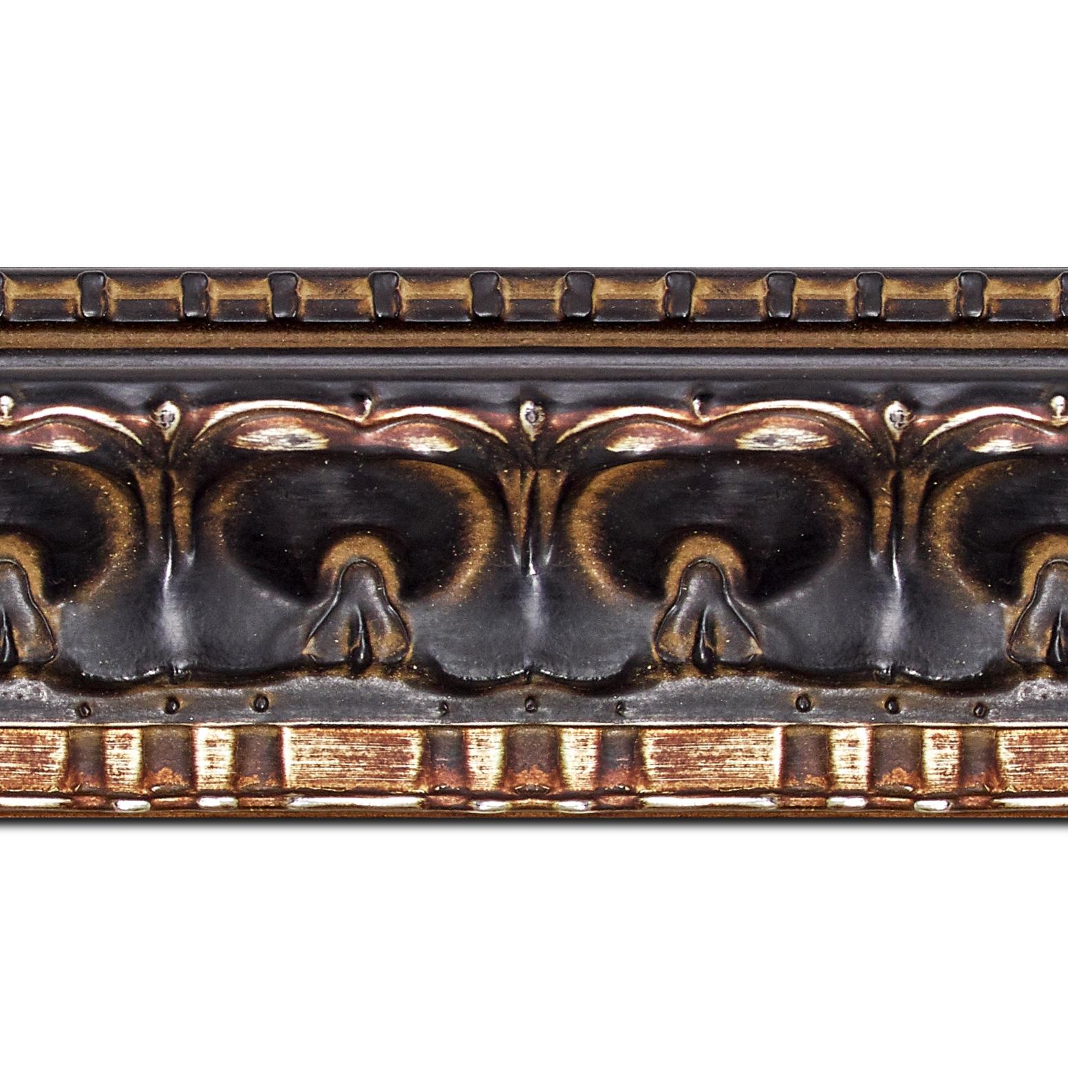 Pack par 12m, bois profil incurvé largeur 8.5cm noir antique classique nez vermeille noirci(longueur baguette pouvant varier entre 2.40m et 3m selon arrivage des bois)