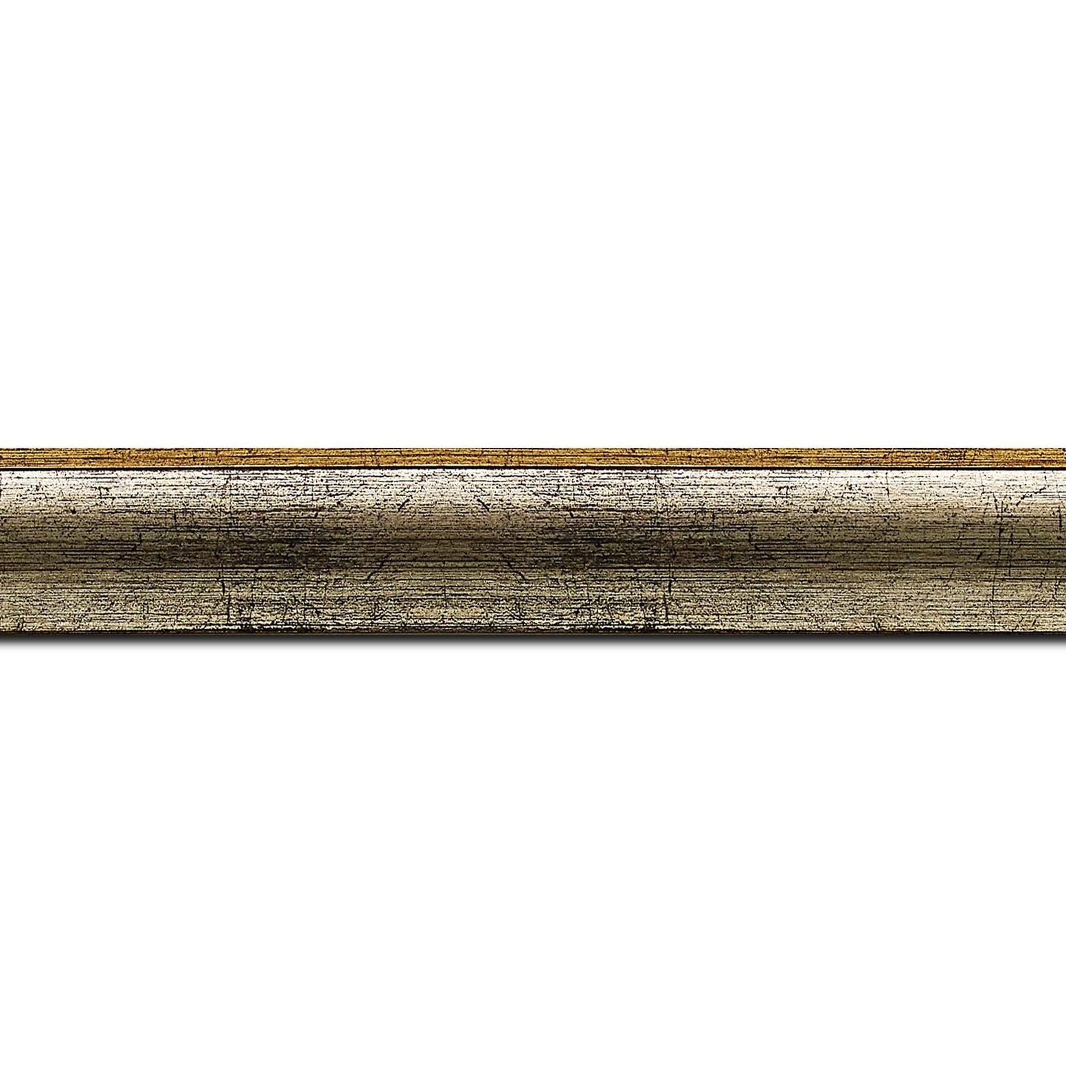 Baguette longueur 1.40m bois profil arrondi plongeant largeur 2.4cm couleur argent chaud effet oxydé filet extérieur or