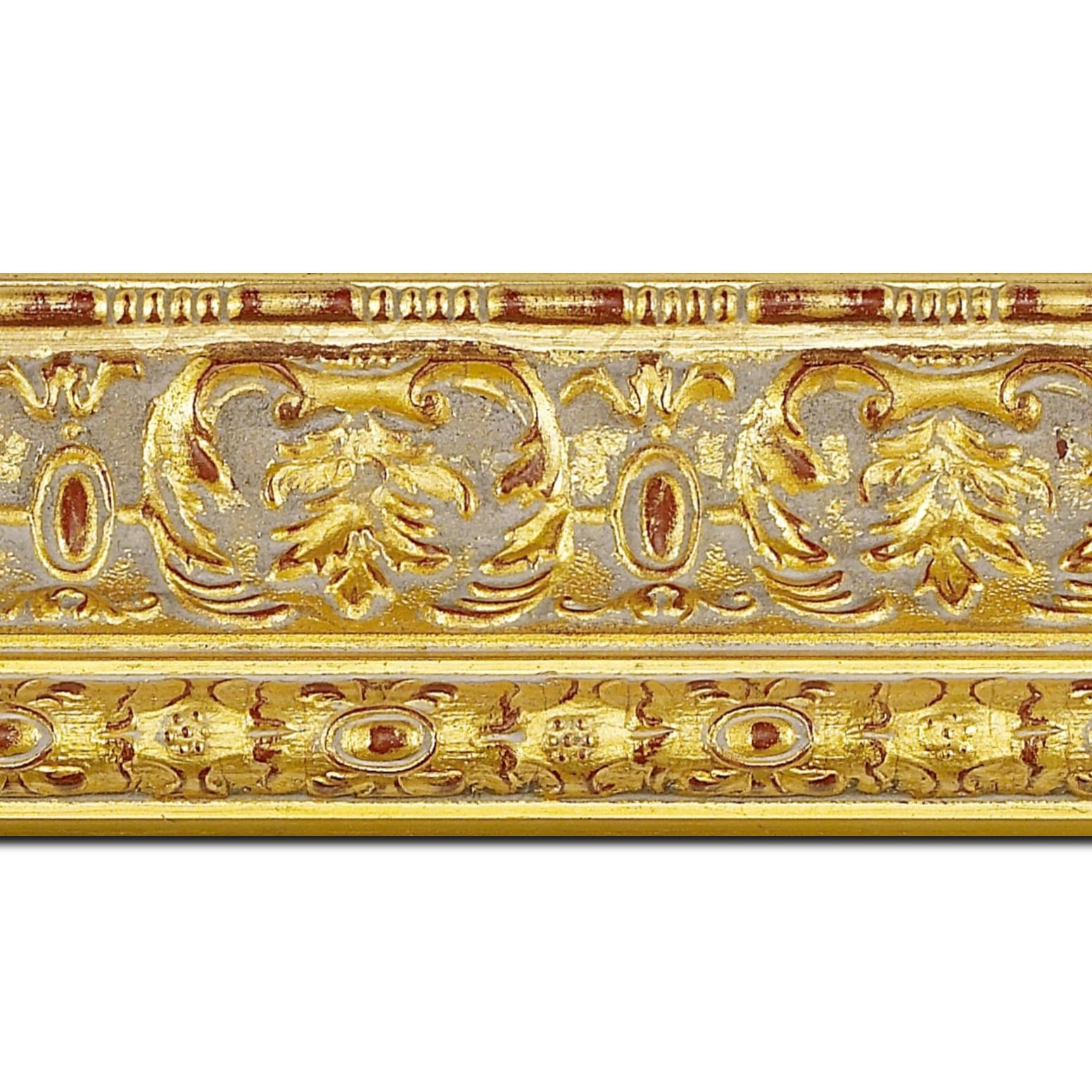 Pack par 12m, bois profil inversé largeur 9.2cm or patiné classique (longueur baguette pouvant varier entre 2.40m et 3m selon arrivage des bois)
