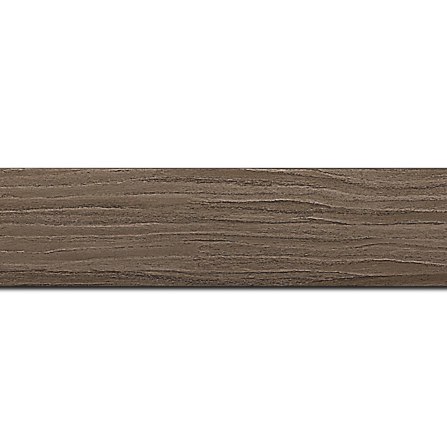 Pack par 12m, bois profil plat largeur 4.2cm décor bois noyer(longueur baguette pouvant varier entre 2.40m et 3m selon arrivage des bois)