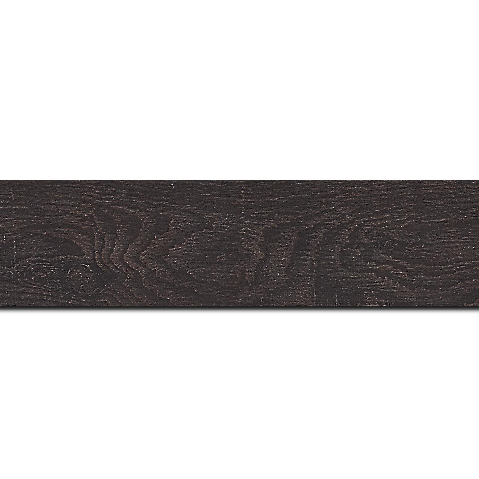 Pack par 12m, bois profil plat largeur 4.2cm décor bois wengé foncé(longueur baguette pouvant varier entre 2.40m et 3m selon arrivage des bois)