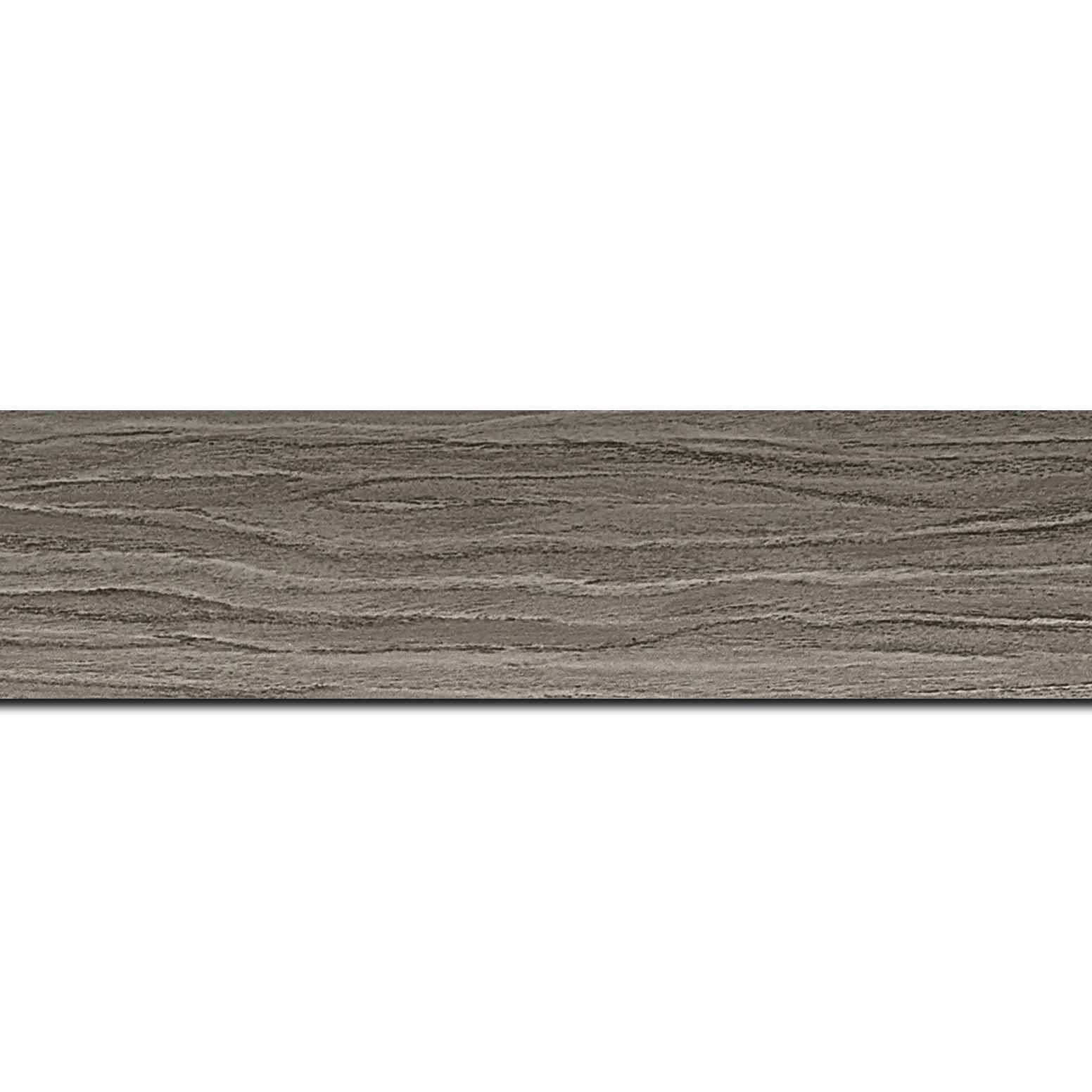 Baguette longueur 1.40m bois profil plat largeur 4.2cm décor bois gris