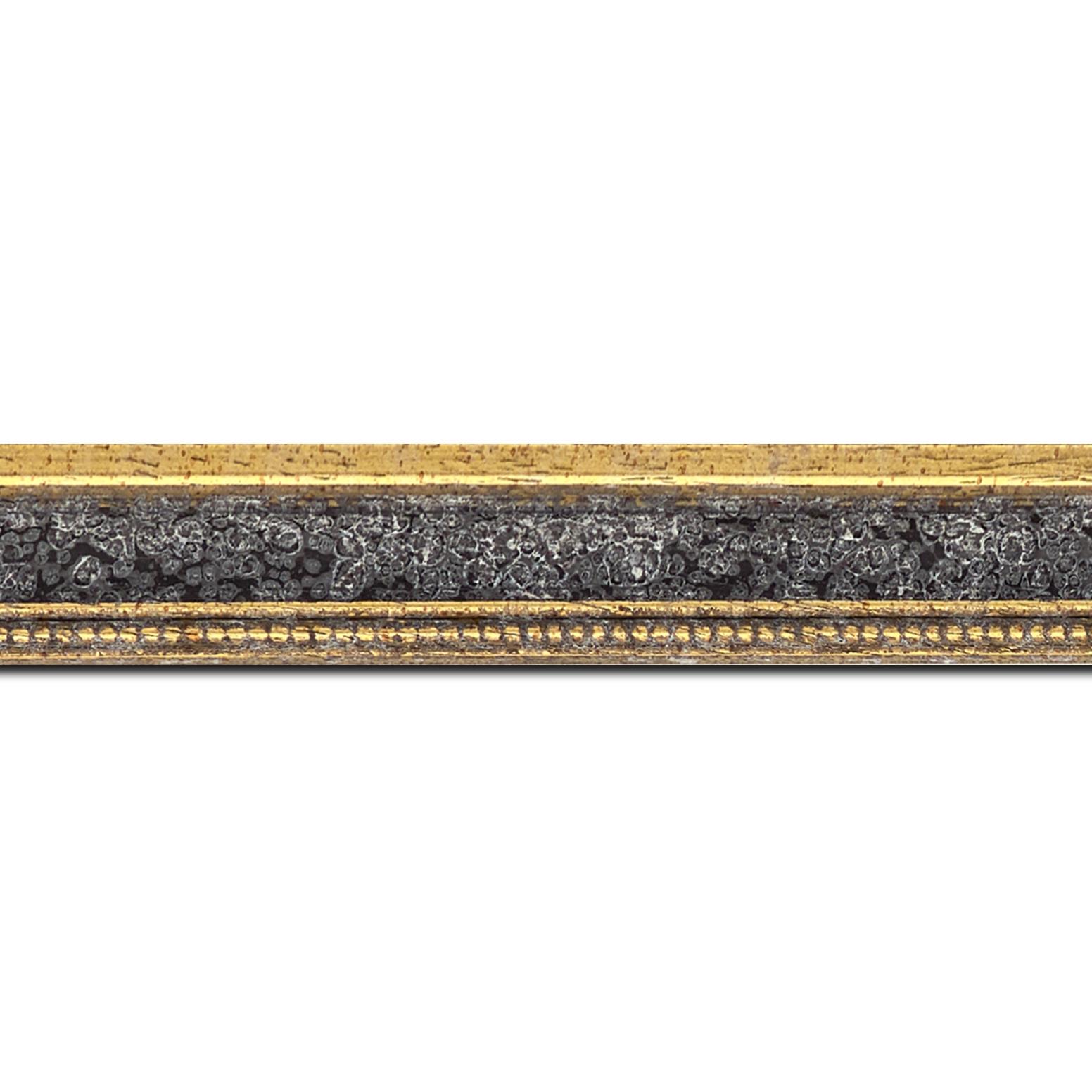 Baguette longueur 1.40m bois profil incuvé largeur 2.4cm  or antique gorge gris vieilli filet perle or