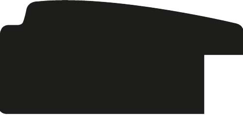 Baguette coupe droite bois profil en pente méplat largeur 4.8cm argent satiné surligné par une gorge extérieure noire : originalité et élégance assurée