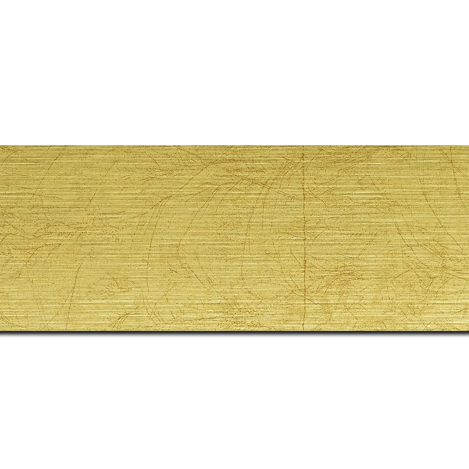 Pack par 12m, bois profil plat largeur 5.9cm or effet marbré(longueur baguette pouvant varier entre 2.40m et 3m selon arrivage des bois)