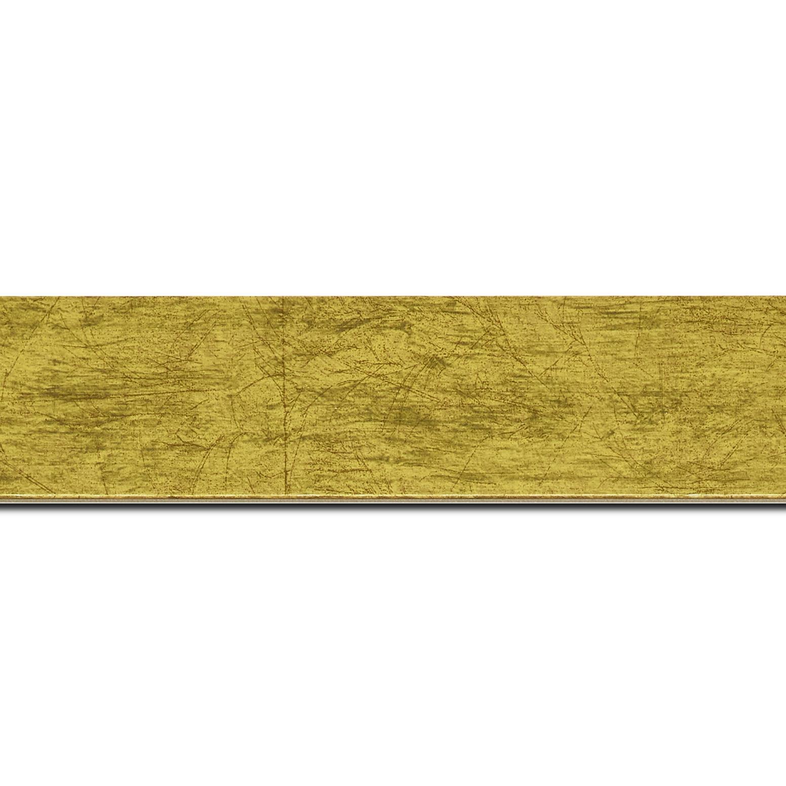 Baguette longueur 1.40m bois profil plat largeur 4cm or effet marbré