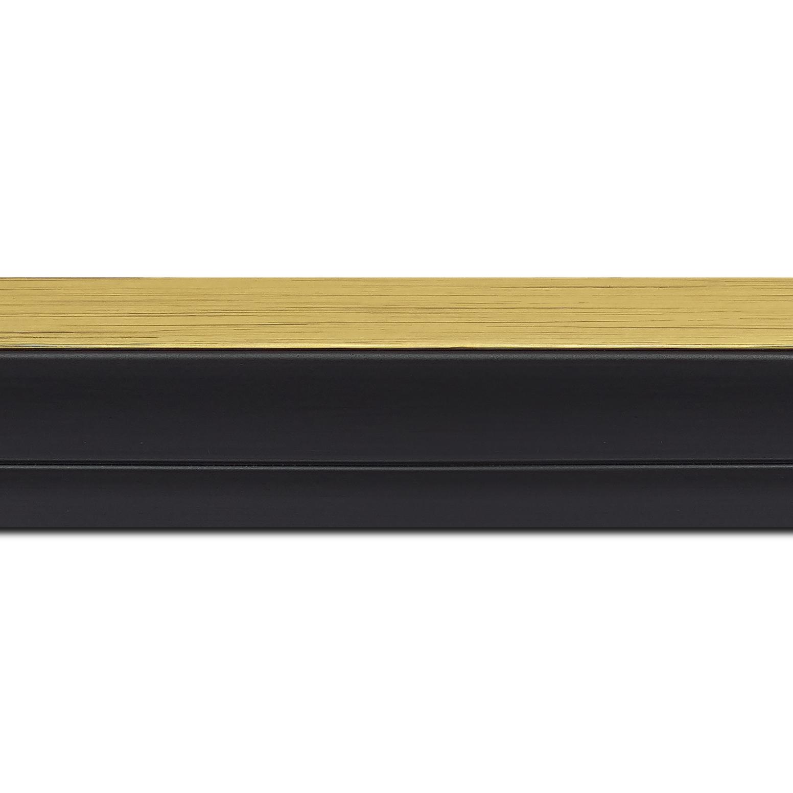 Pack par 12m, bois caisse américaine xl profil escalier largeur 4.9cm noir mat  filet or (spécialement conçu pour les châssis 3d d'une épaisseur de 3 à 4cm)(longueur baguette pouvant varier entre 2.40m et 3m selon arrivage des bois)