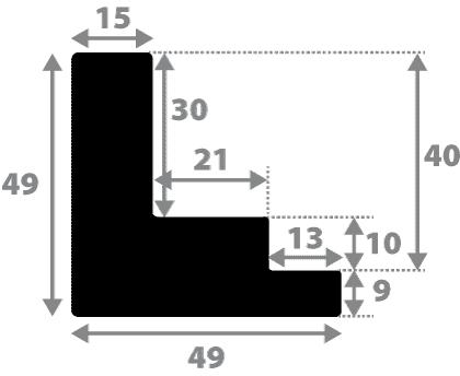 Baguette 12m bois caisse américaine xl profil escalier largeur 4.9cm noir mat  filet argent (spécialement conçu pour les châssis 3d d'une épaisseur de 3 à 4cm)