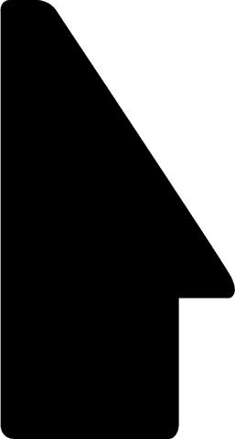 Baguette precoupe bois profil en pente plongeant largeur 2.2cm couleur noir laqué filet extérieur blanc laqué