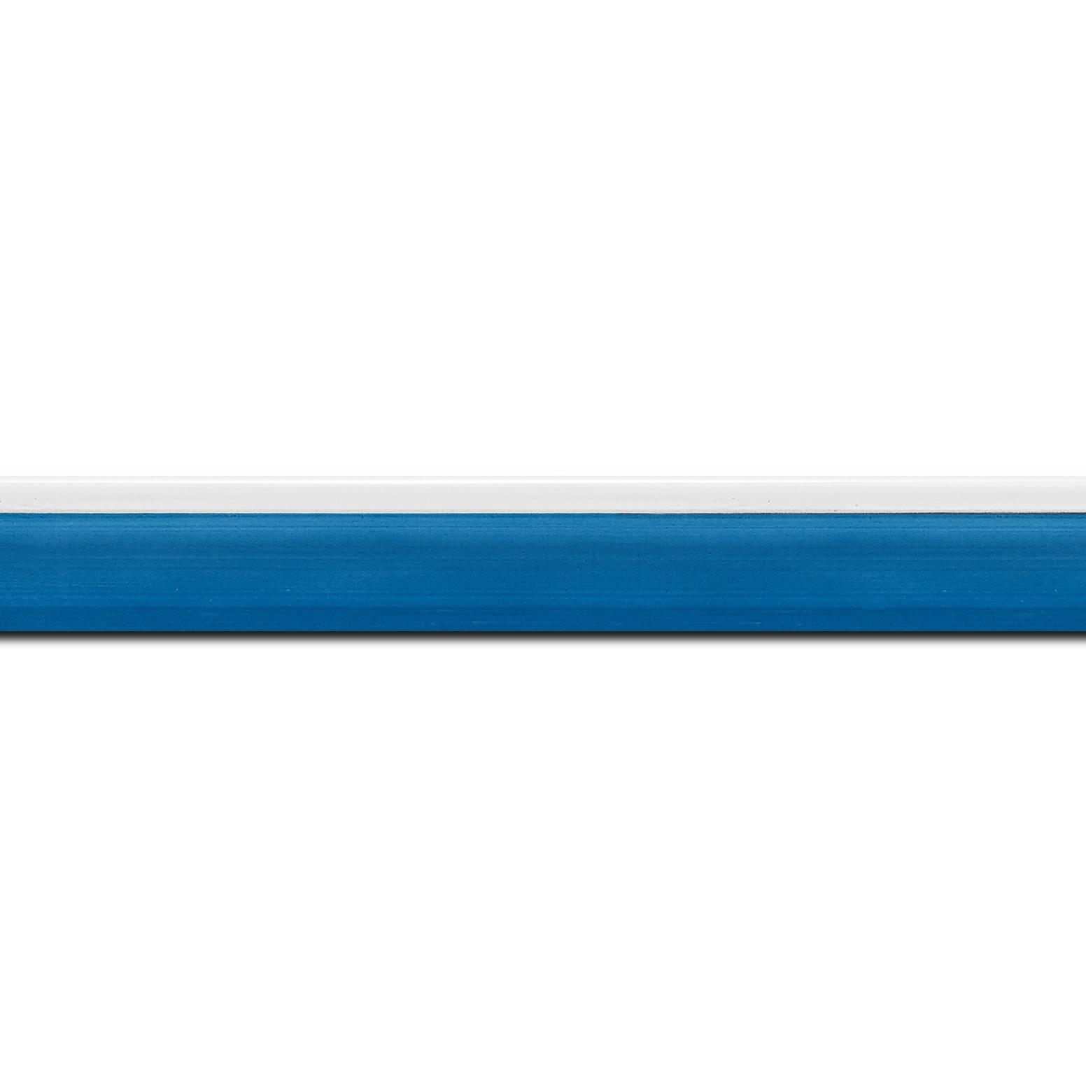 Pack par 12m, bois profil en pente plongeant largeur 2.2cm couleur bleu lagon laqué filet extérieur blanc laqué(longueur baguette pouvant varier entre 2.40m et 3m selon arrivage des bois)
