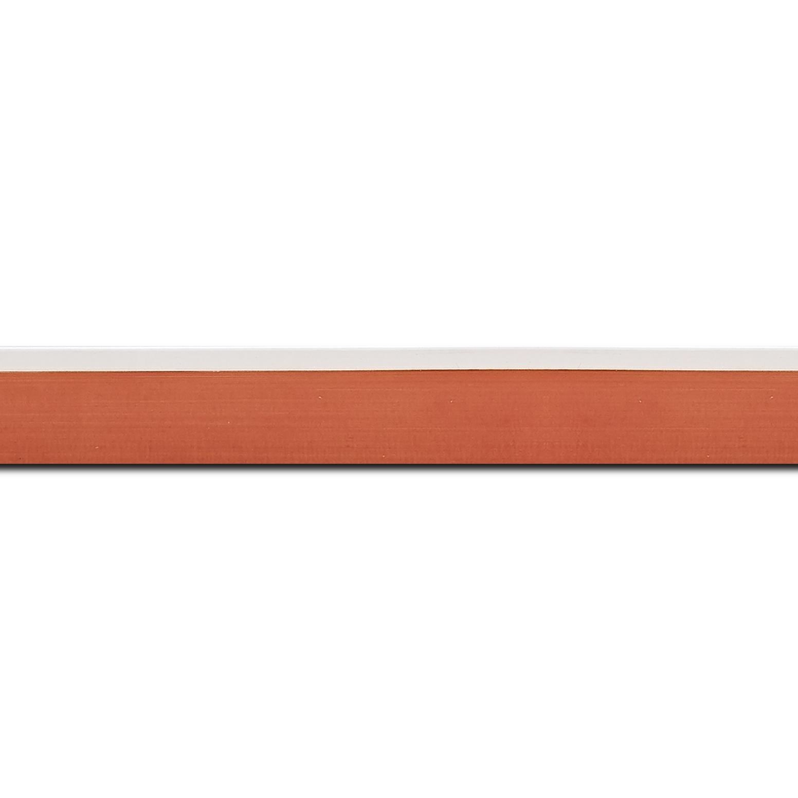 Pack par 12m, bois profil en pente plongeant largeur 2.2cm couleur orange laqué filet extérieur blanc laqué(longueur baguette pouvant varier entre 2.40m et 3m selon arrivage des bois)