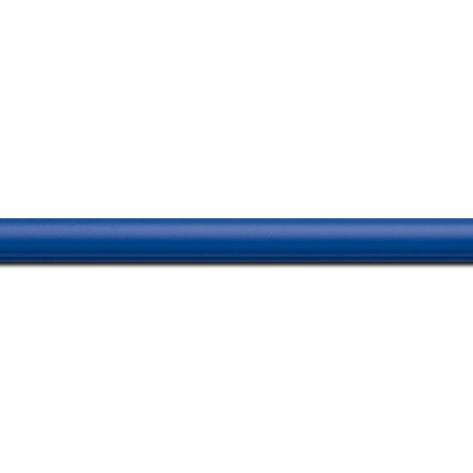 Baguette longueur 1.40m bois profil demi rond largeur 1.5cm couleur bleu français mat